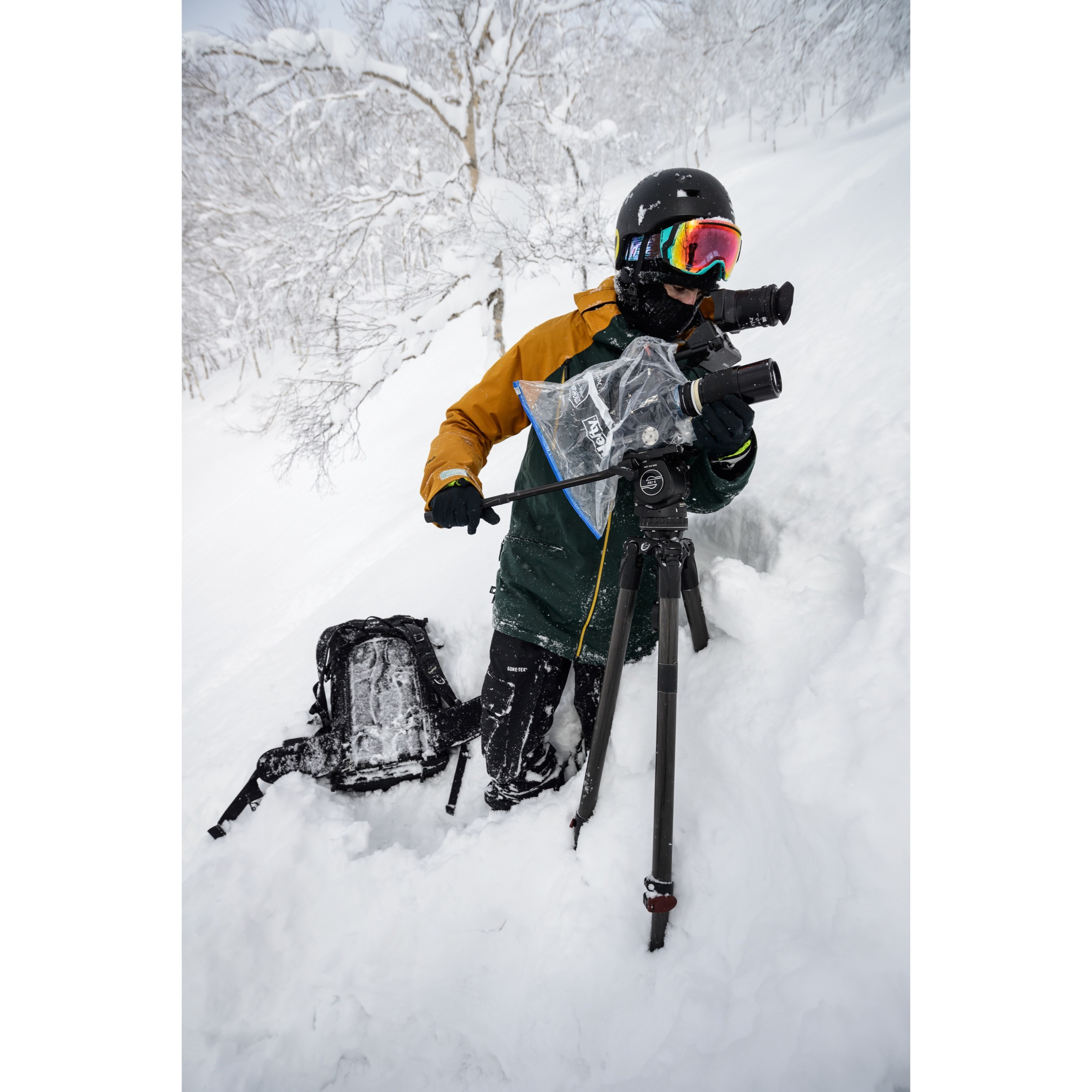 Filming in the trees at Rusutsu Ski Resort in Japan