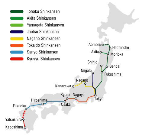 Shinkansen railway map