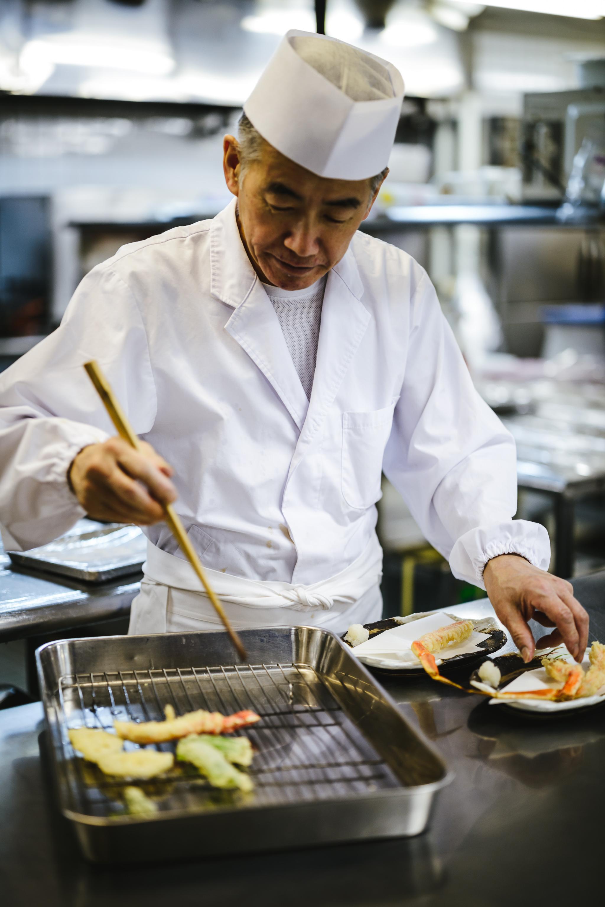 chef fries tempura