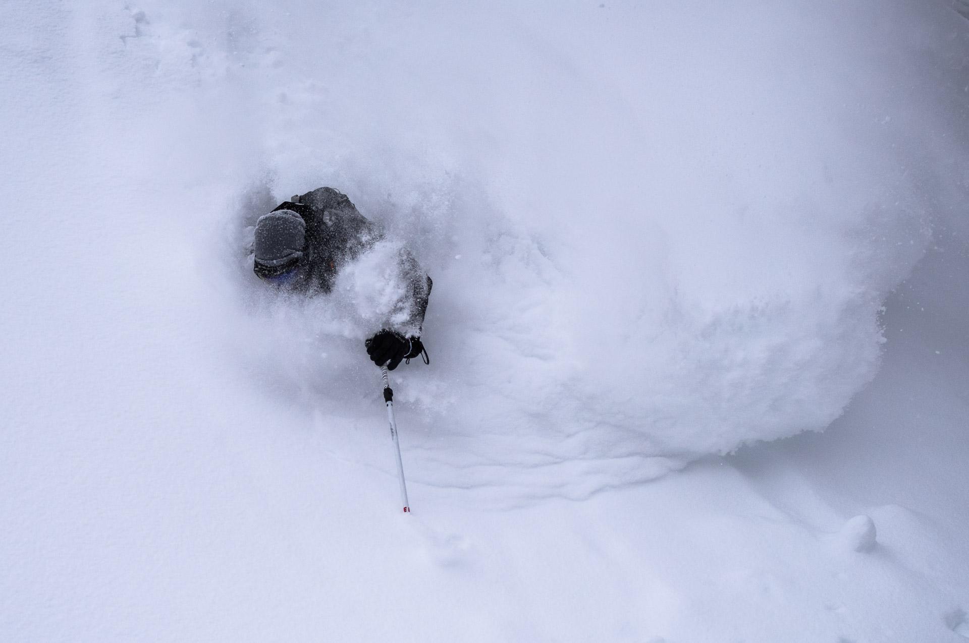 skier Jake gets faceshot at Kiroro