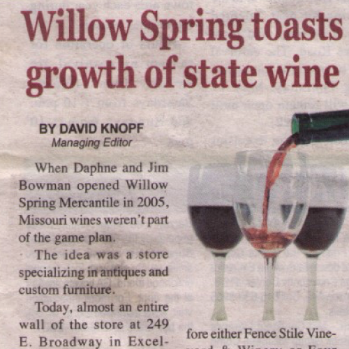 Willow Spring toasts growth of state wine  | Excelsior Springs Standard | May 2016