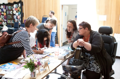 Collaborative action planning and Zine-making at the 100 for the 100th event in Edinburgh.