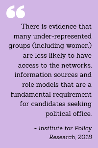 """Quote: """"There is evidence that many under-represented groups (including women) are less likely to have access to the networks, information sources and role models that are a fundamental requirement for candidates seeking political office."""" - Institute for Policy Research, 2018"""