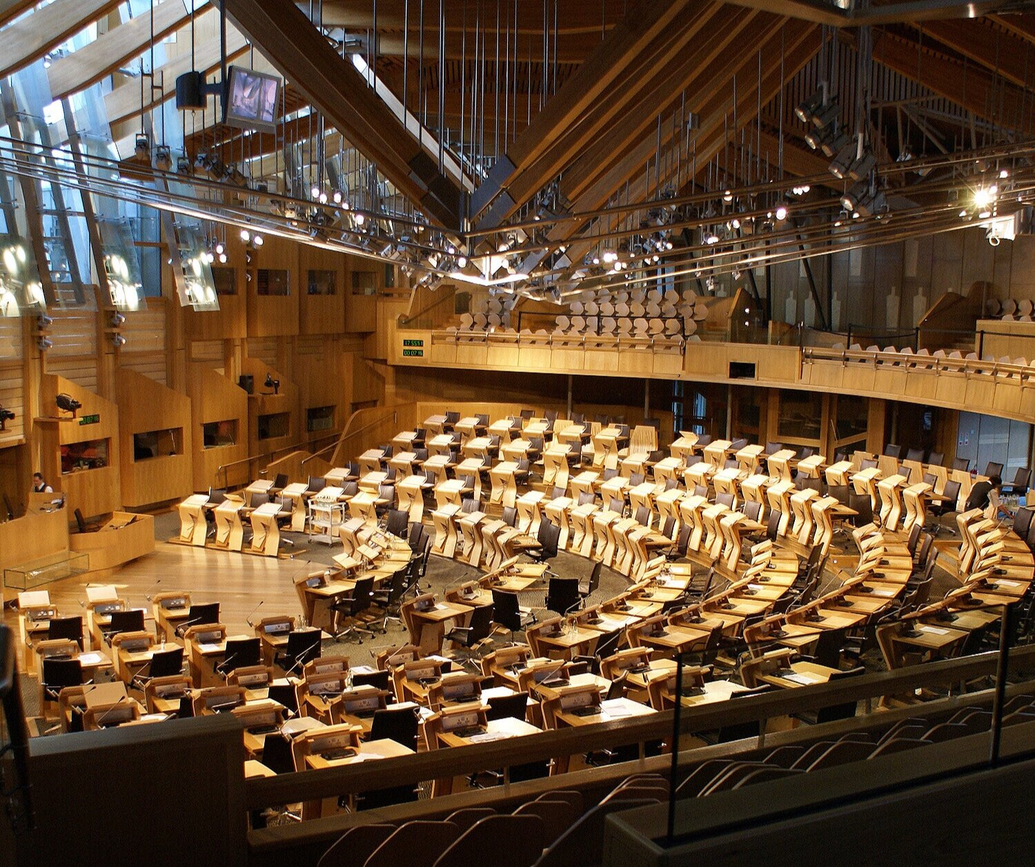 Image of the debating chamber at the Scottish Parliament.