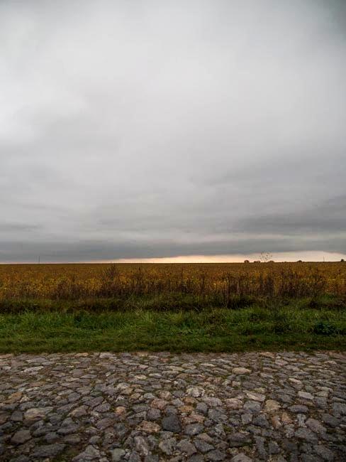 Granite road and soybean field, Western Ukraine, September 2011