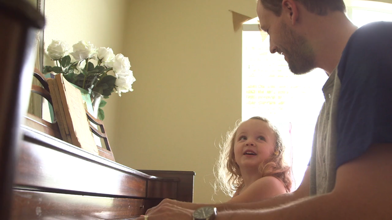 My daughter Liv and I love to play piano and sing together.