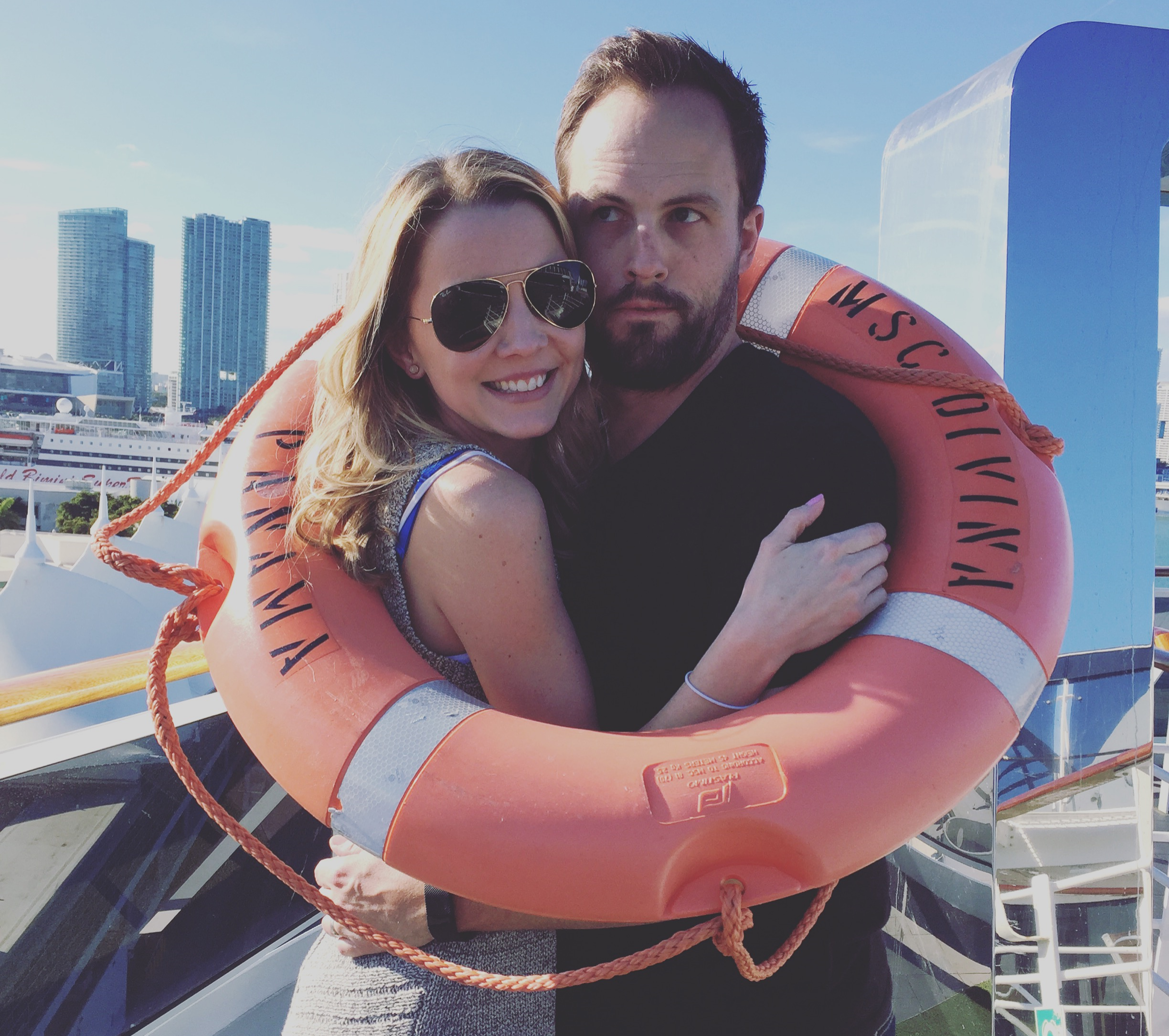 Jess and I on the MSC Divina cruise ship while docked in Miami. My parents blessed us with a   cruise   to Jamaica and Grand Caymans in January, we had an absolute blast!