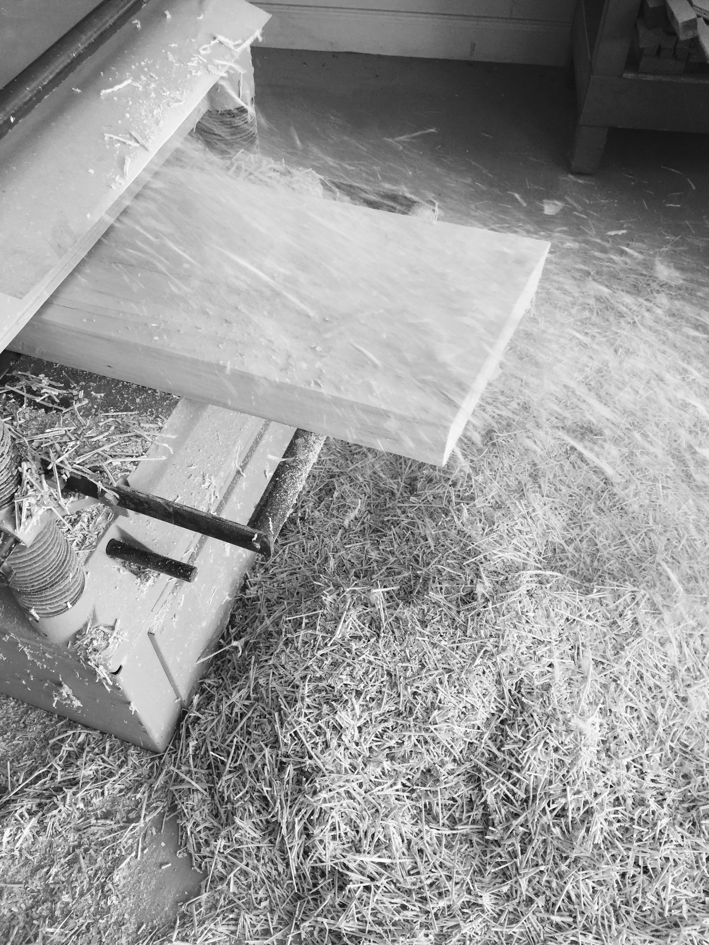 wood shop planer in action