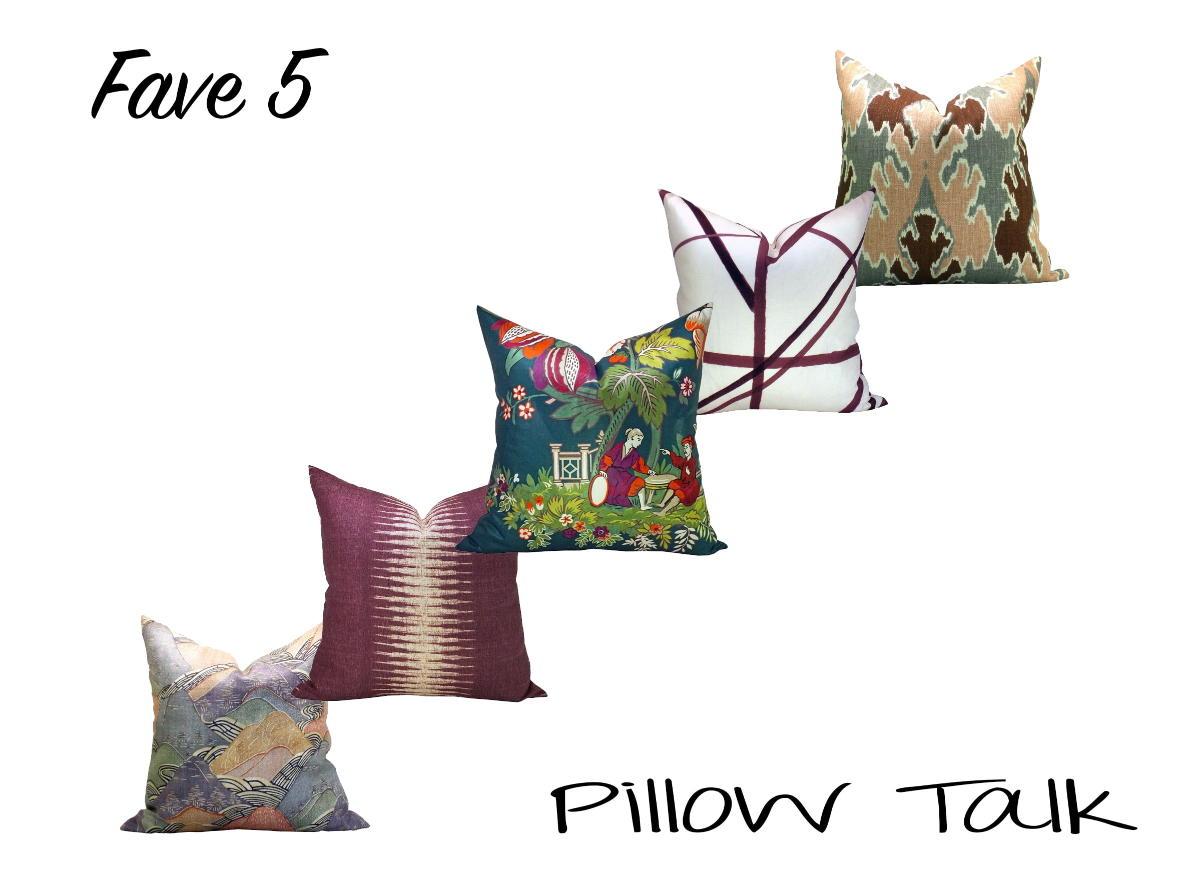 Left to right (all pillows by  SparkModern ):  Kelly Wearstler Edo Linen in  Opal   Peter Dunham Textiles Ikat in  Pasha   Manuel Canovas Parfum d'Ete in  Bleu Canard   Kelly Wearstler Channels in  Plum Oatmeal   Kelly Wearstler Bengal Bazaar in  Magenta