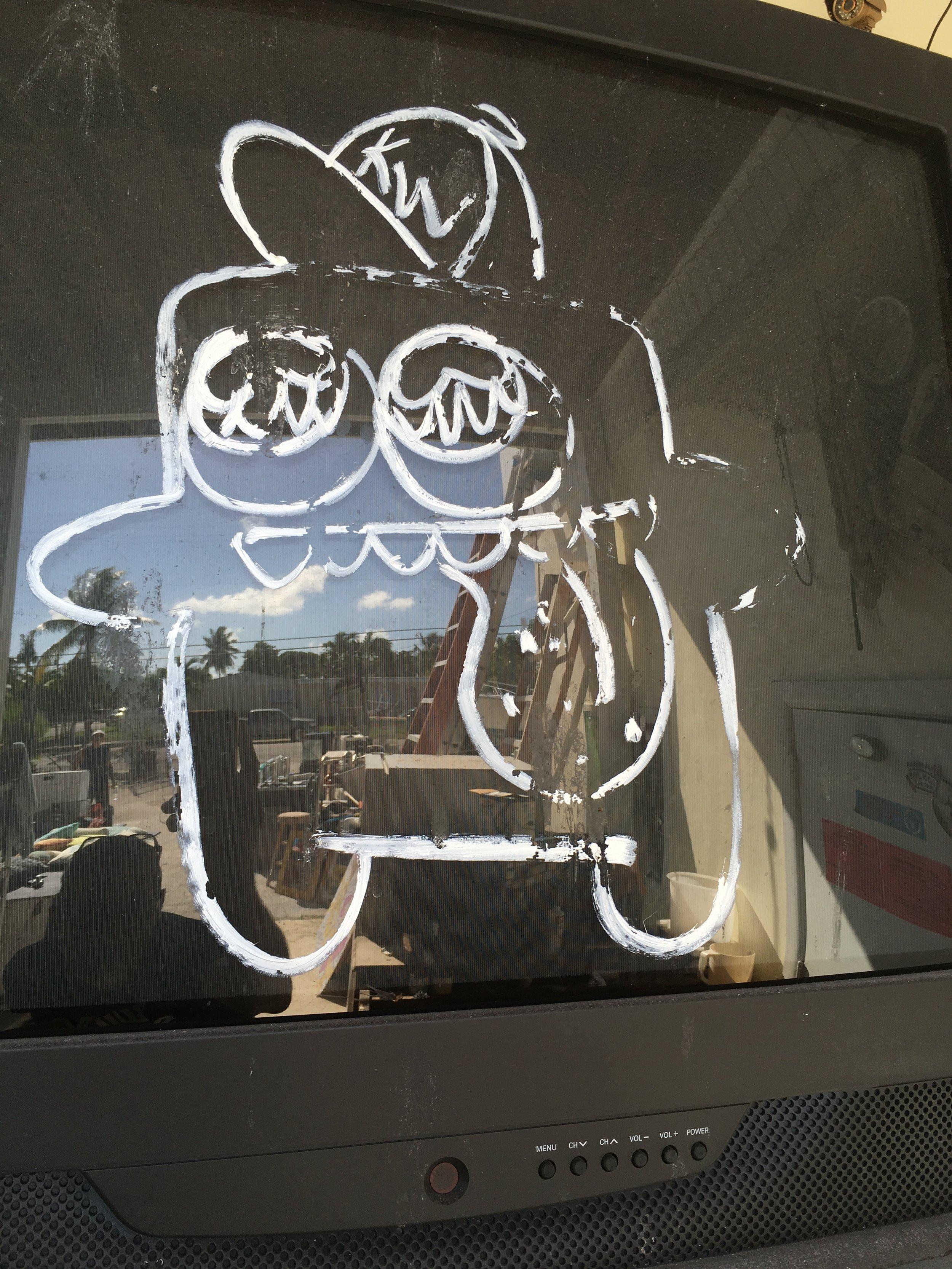 Mystery Blob graffiti on old TV
