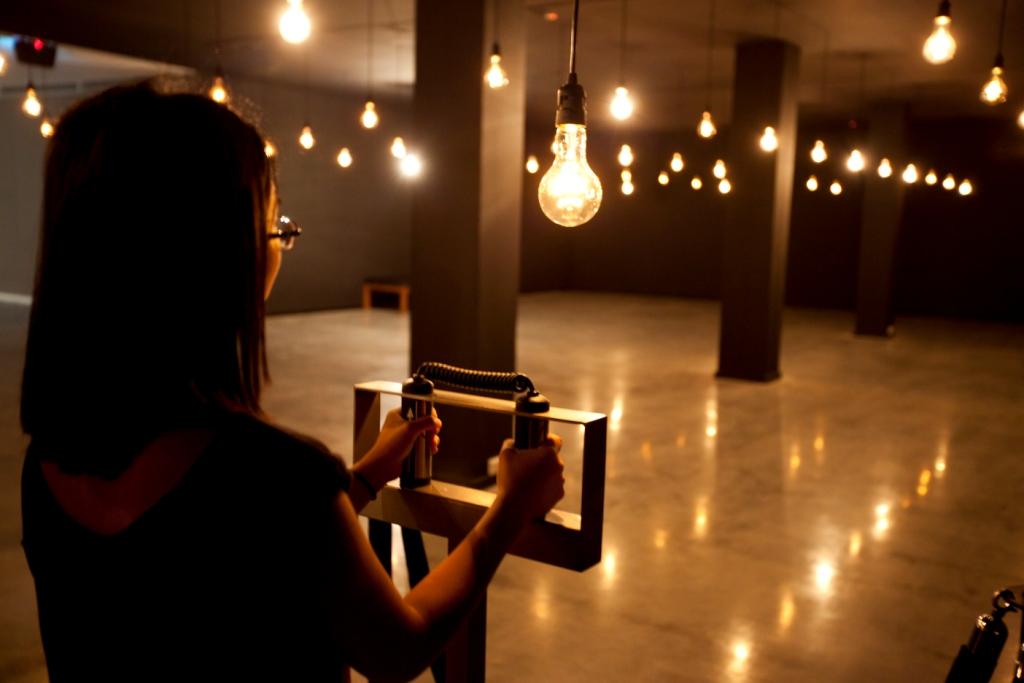 Rafael Lozano-Hemmer at the MCA in late 2011/early 2012. Image caption is Rafael Lozano-Hemmer  Pulse Room (2006) installation view, Museum of Contemporary Art Australia 2011 Photo: Alex Davies
