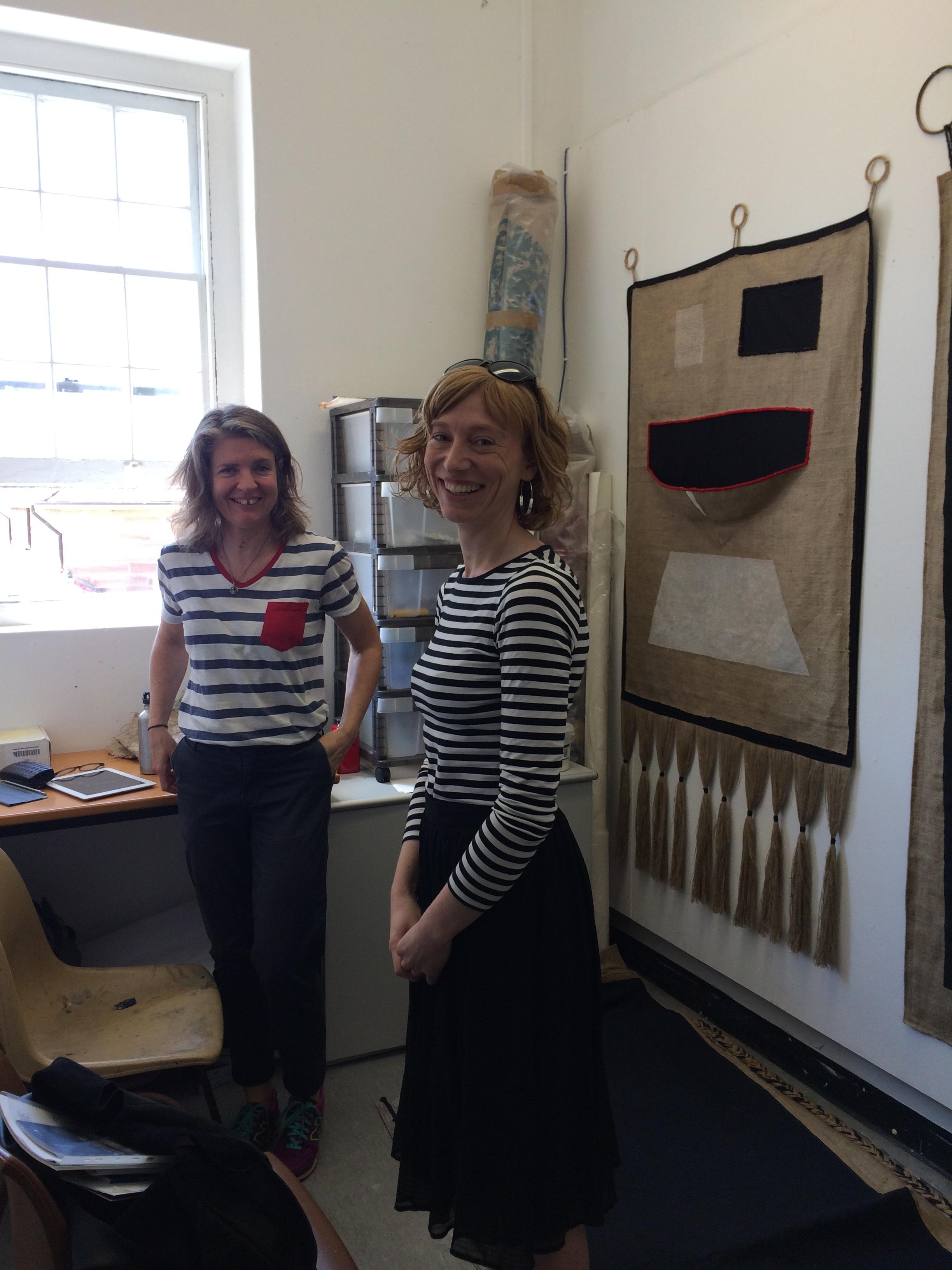 Liz Pulie in the studio with Megan Robson