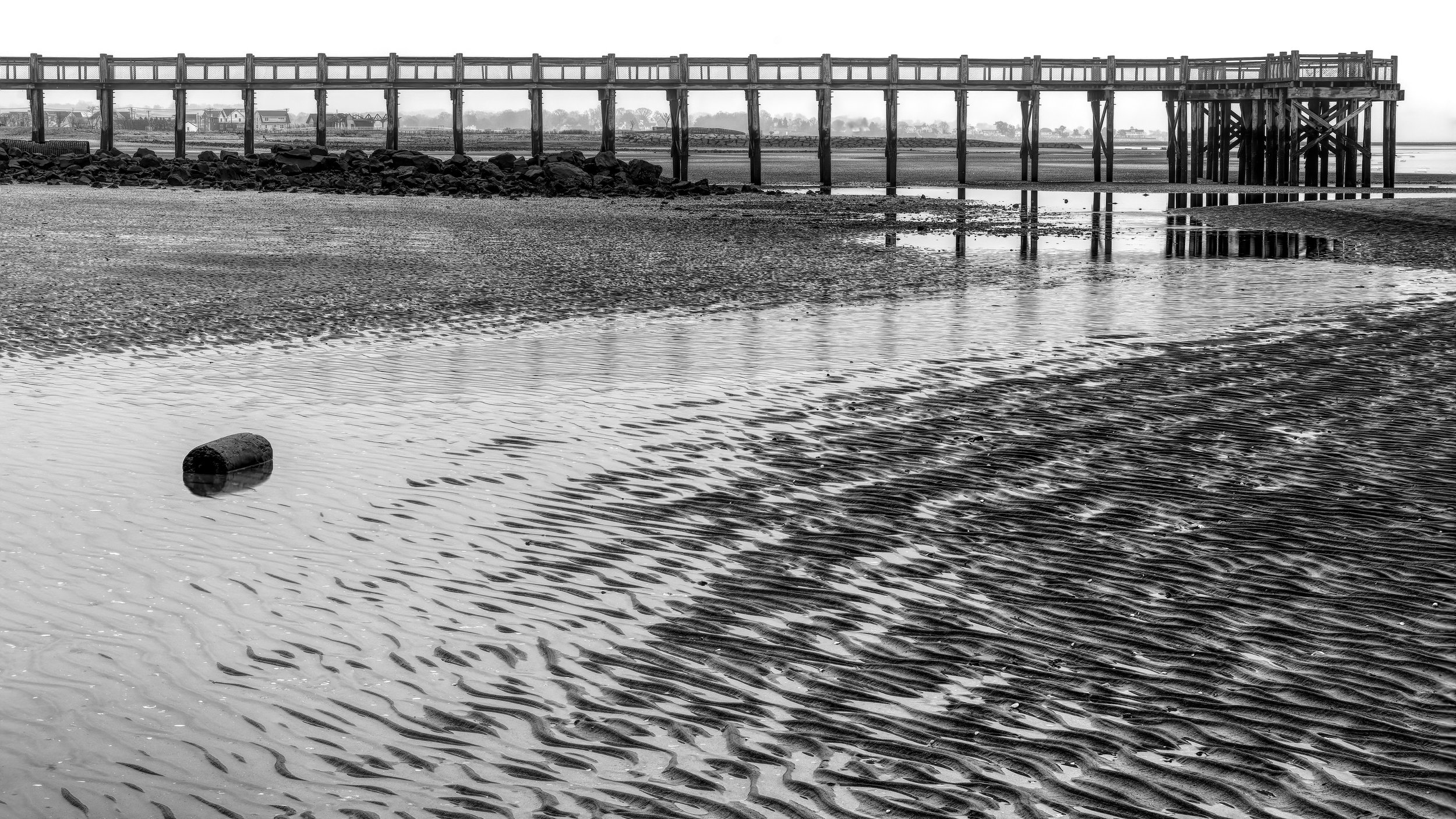 The sand shaped like thousands of eels guide me back to the pier. The receding waters also trail off in a serpentine fashion and there is the pier, each of its legs forming a frame so it looks like a string of paintings hung together to make a larger mural of the coastline.