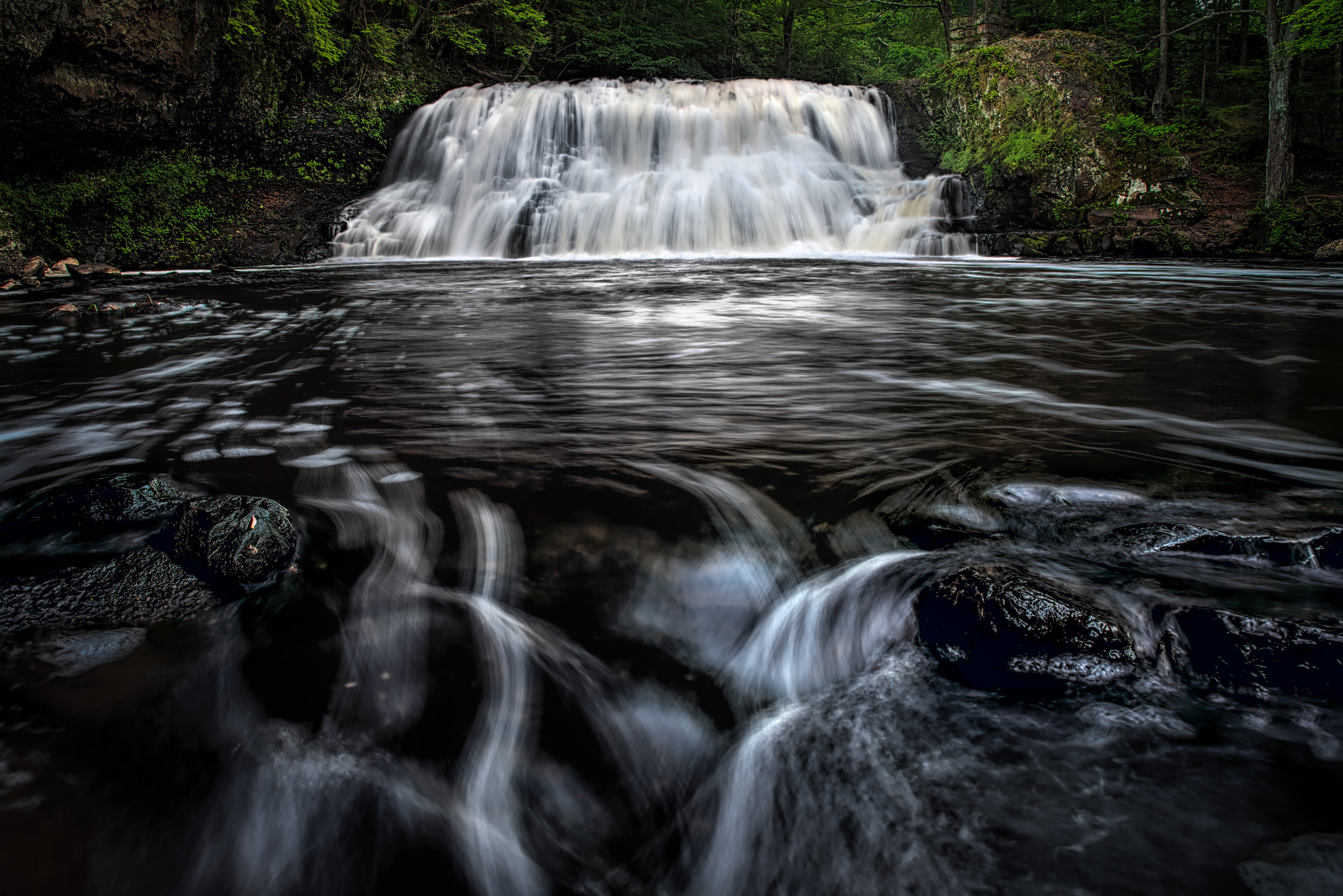 """The river that the falls are part of is the Coginchaug River. This first shot and subsequent images are of the """"Big Falls"""", the main attraction for many visitors."""