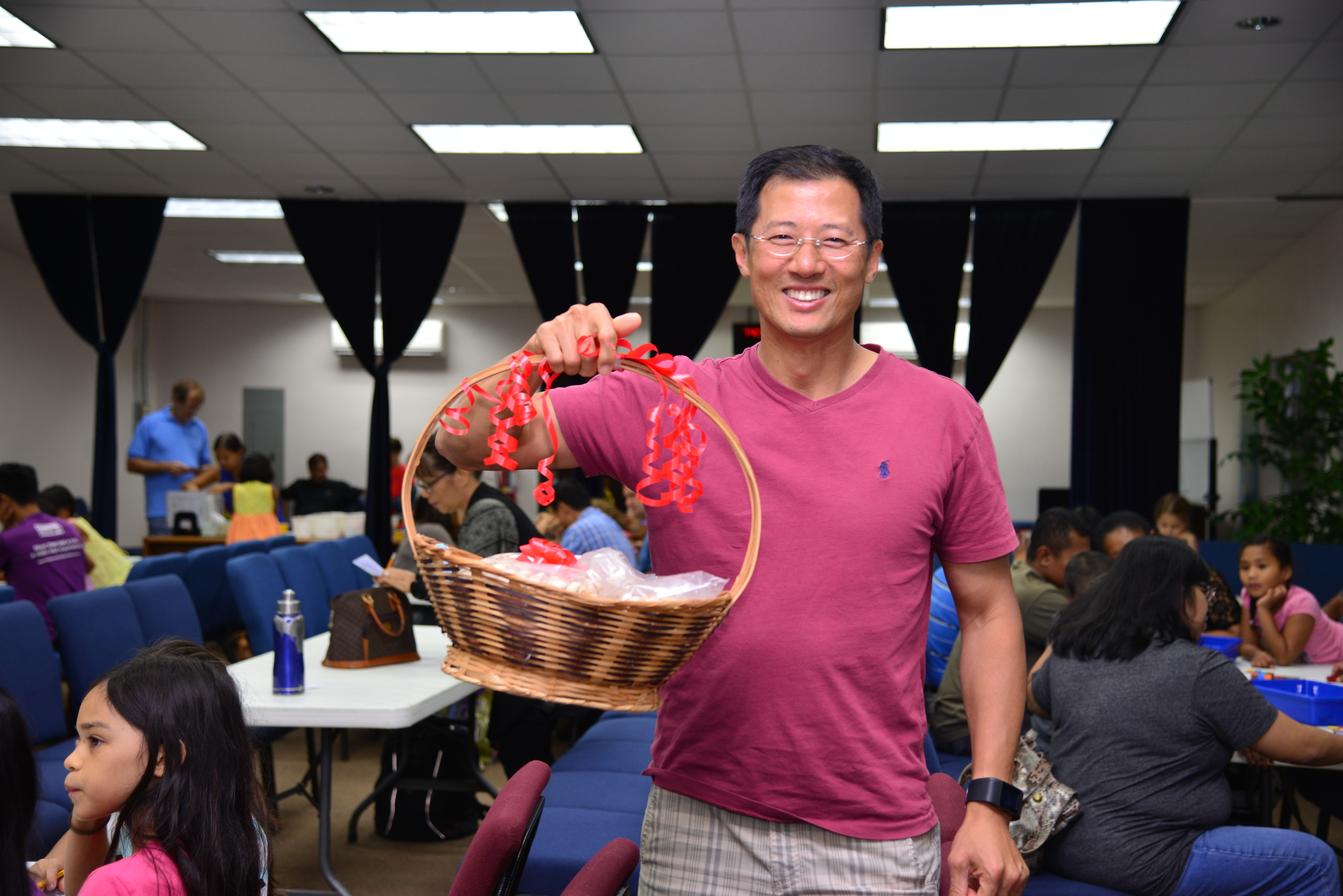 Jon Kim took this basket of pistachio home after winning the estimation game. His estimate was only 3% off the mark!
