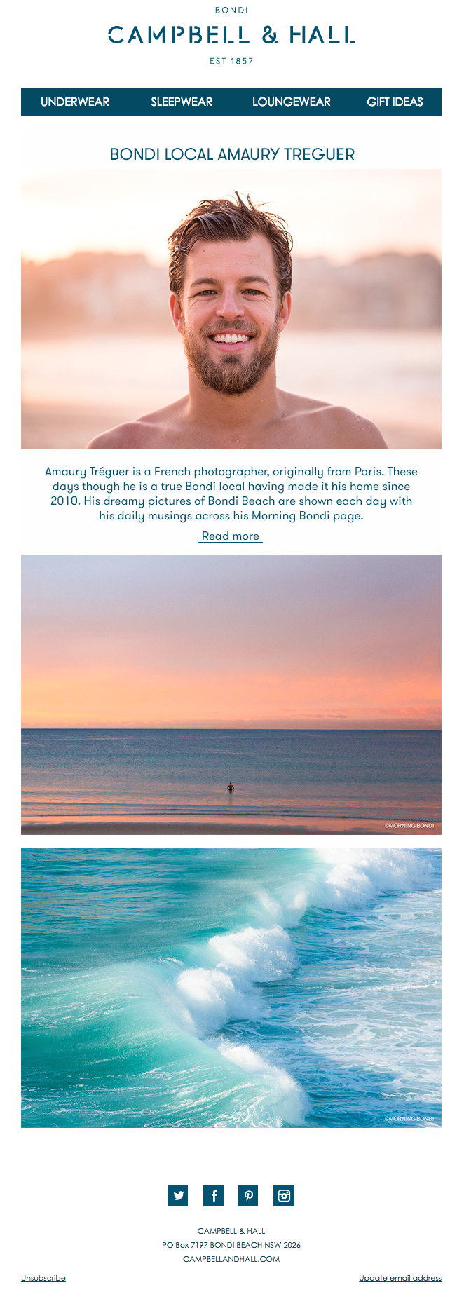 Newsletter Campbell & Hall featuring Morning Bondi