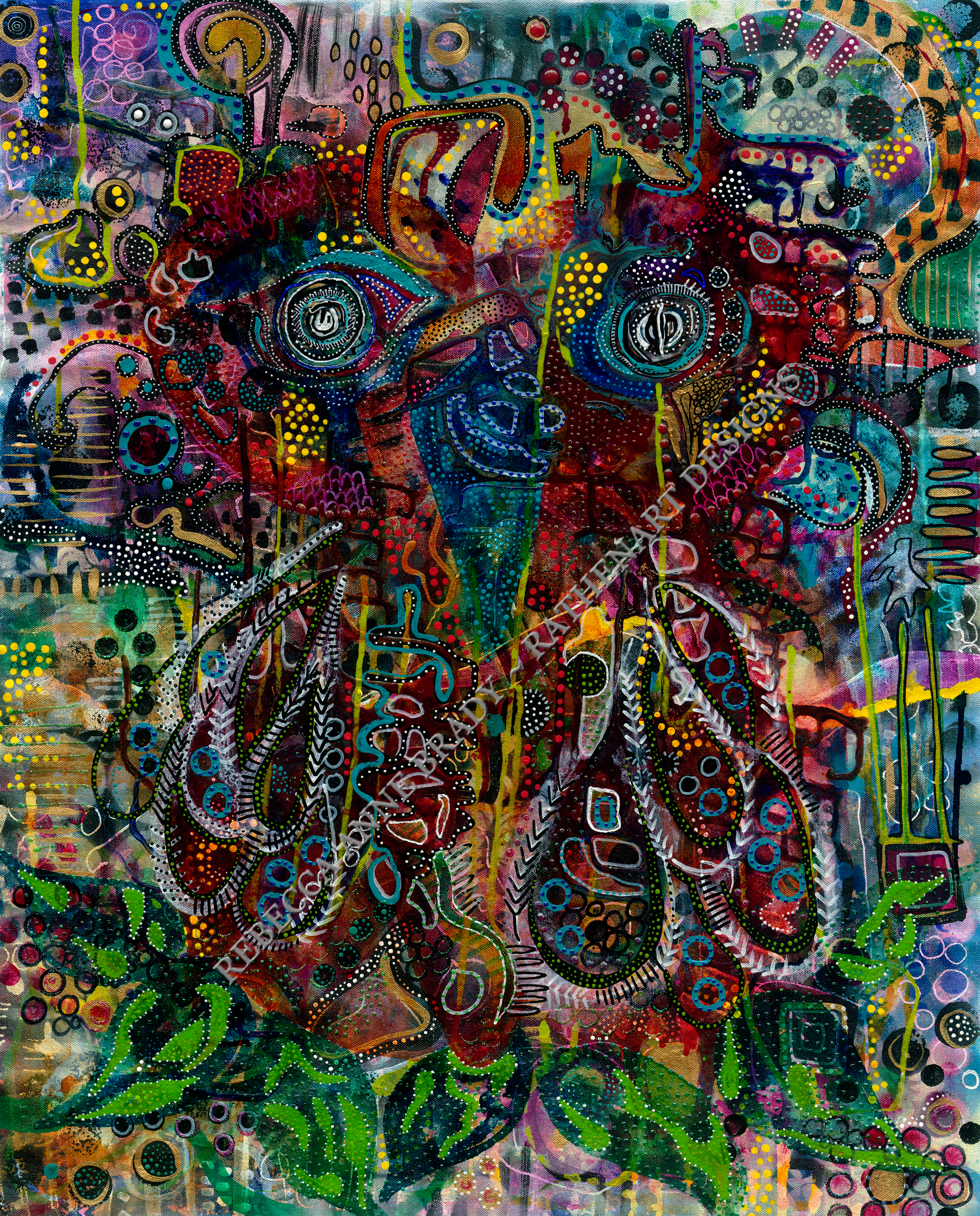 """Abstract Owl No/2""  Acrylic and Mixed Media on Canvas  2015"