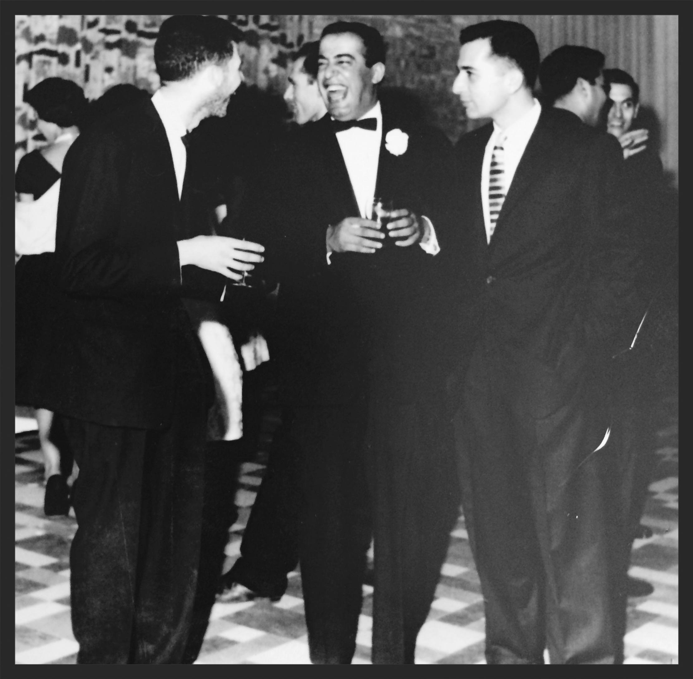 Usama enjoying a laugh with lifelong friends Youssef Al-Shirawi and Kamal Salibi