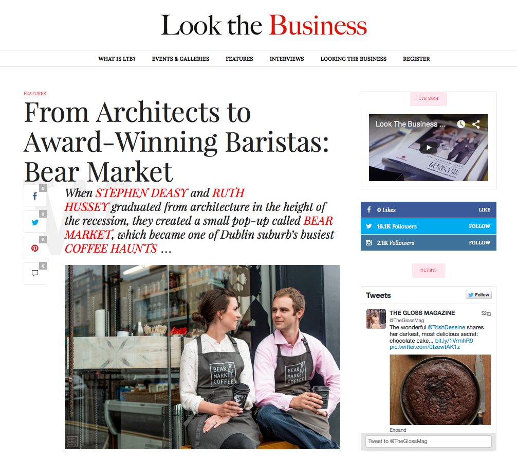 """When Stephen Deasy and Ruth Hussey met while studying architecture, neither anticipated that in the years following their 2009 graduation would lead to the unsettling feeling that if they were to continue their careers they would need to emigrate.  Ruth, turning to her passion, set up Pure Food Bakery in Blackrock with her mum Mary in 2011, which then went onto be stocked in some of Ireland's leading retail stores.  Meanwhile Stephen took on the hospitality industry, founding EPI hostels with his cousin, which unfortunately was shaded by downturn of the Greek economy, launching EU-wide investments into doubt.  Turning their hands instead to crafting a coffee shop which began as a pop-up, the pair eventually secured a premises, enlisting the help of their fellow classmates  VAV Architects  to create the store's unique industrial design, for which it became known.  Training as baristas, the pair intended to eradicate the notion of coffee snobbery, and were last year awarded the 'Digital Experience' award at the Junior Chamber International Awards.  Nowadays, the pair run a number of cupping classes to break this snobbery and create informal conversation with their customers about the high quality artisan espresso they serve.  What's next for the coffee-making duo? In the next few months, Bear Market will open its second Dublin store, with plans for more popping up around Dublin, with plans to offer worldwide delivery of their products.  """"We believe that our online store will be one of our strongest revenue streams over the coming year so we are investing heavily in this with the intention of expanding our delivery service from nationwide as it currently stands to worldwide within the next year.""""   Hannah Popham"""