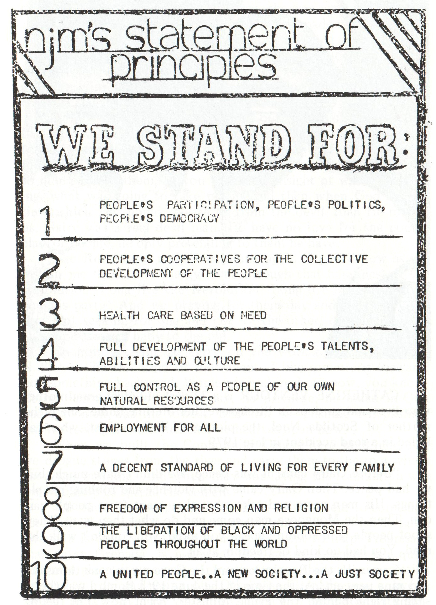 New Jewel Movement's Statement of Principles. Image courtesy Caribbean Labour Solidarity/University of the West Indies Grenada/Fedon Press
