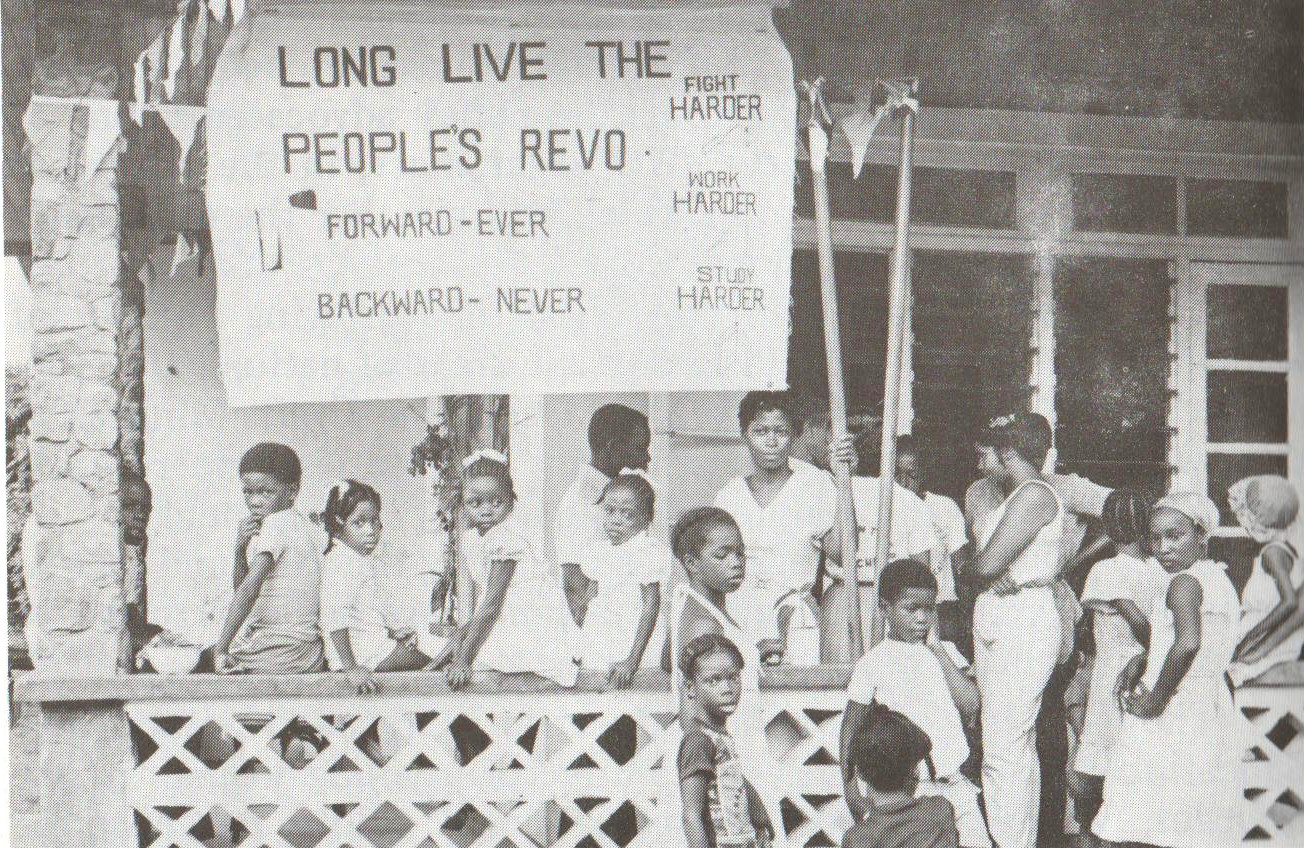 A community run school in Grenada during the Revolution. Image courtesy  Caribbean Labour Solidarity /University of the West Indies Grenada/Fedon Press