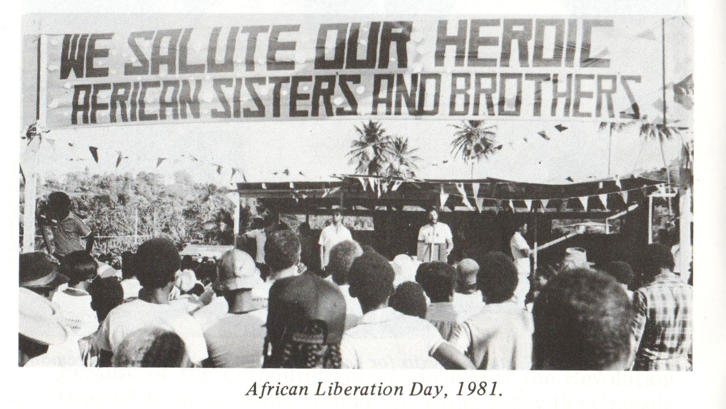Maurice Bishop addresses an African Liberation Day crowd in Grenada, 1981. Image courtesy  Caribbean Labour Solidarity /University of the West Indies Grenada/Fedon Press
