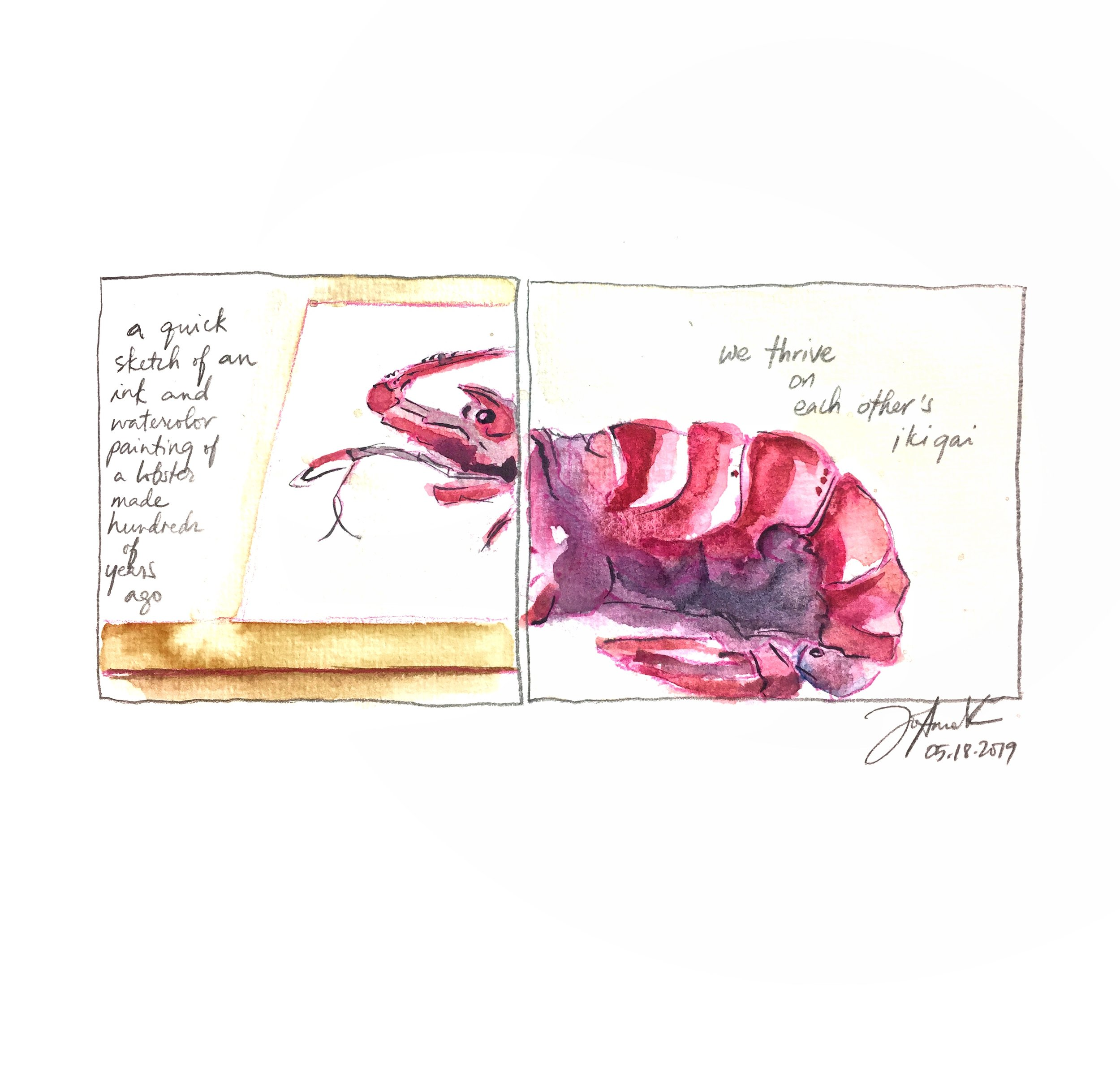 a very old ink and watercolor painting of a lobster