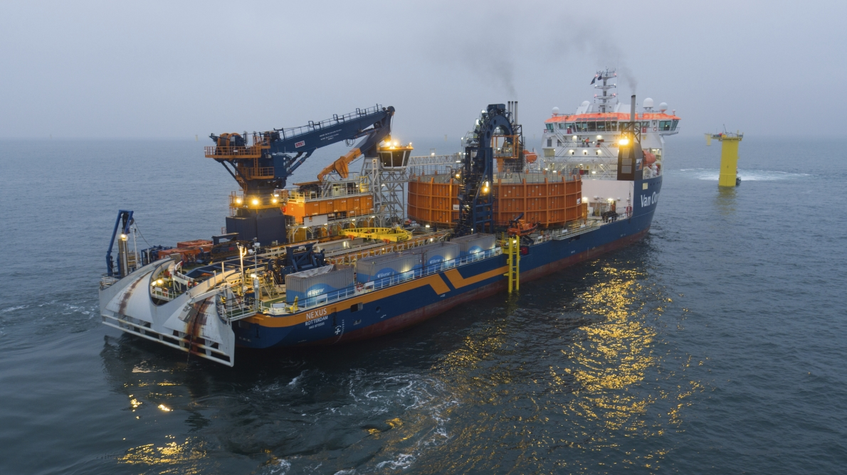 Image: Van Oord cable-laying vessel Nexus installing cables with Tekmar cable protection systems.