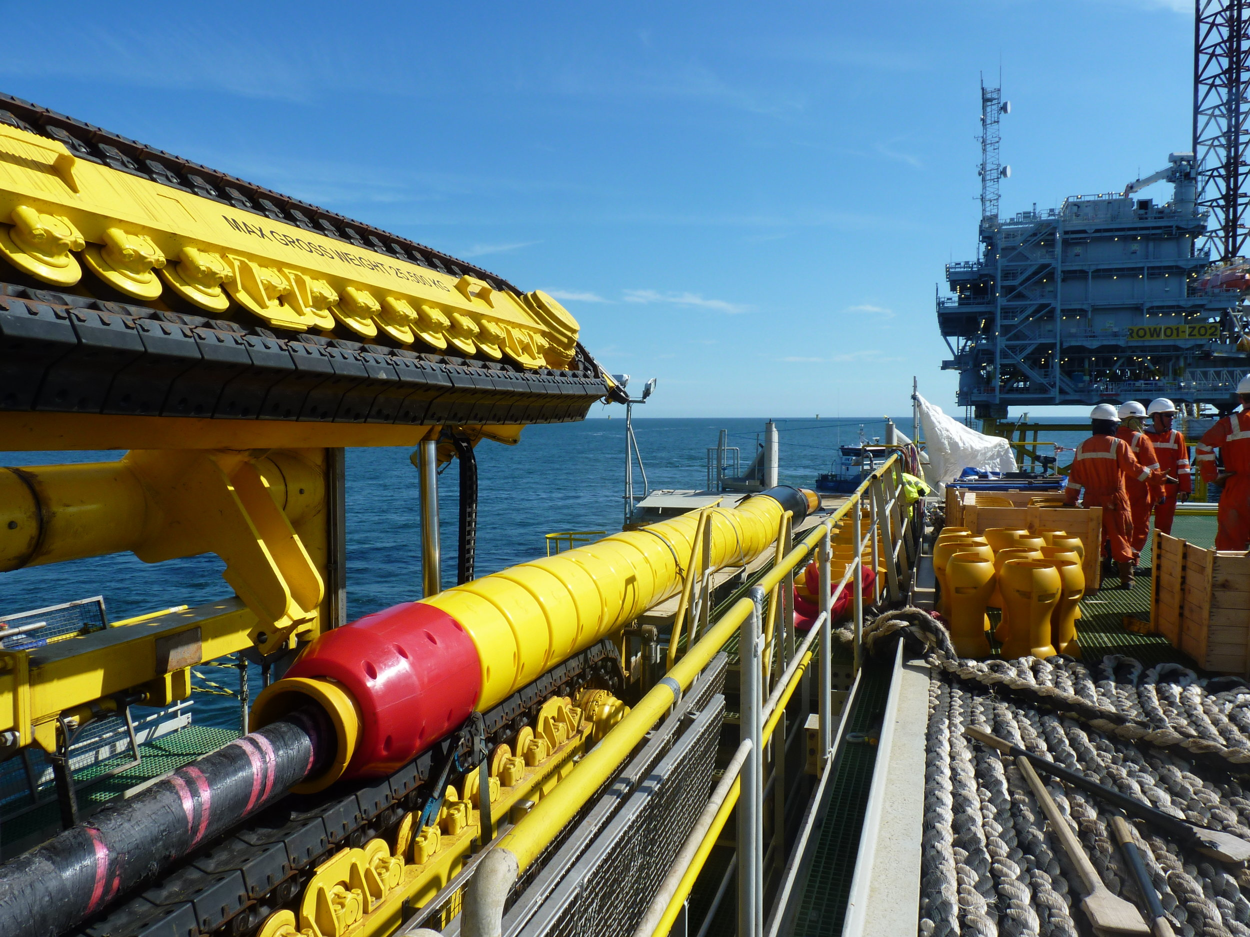 Photo caption: Tekmar Cable Protection System on the back of a Jan De Nul Group vessel installing an offshore wind project.  High resolution image can be downloaded here.