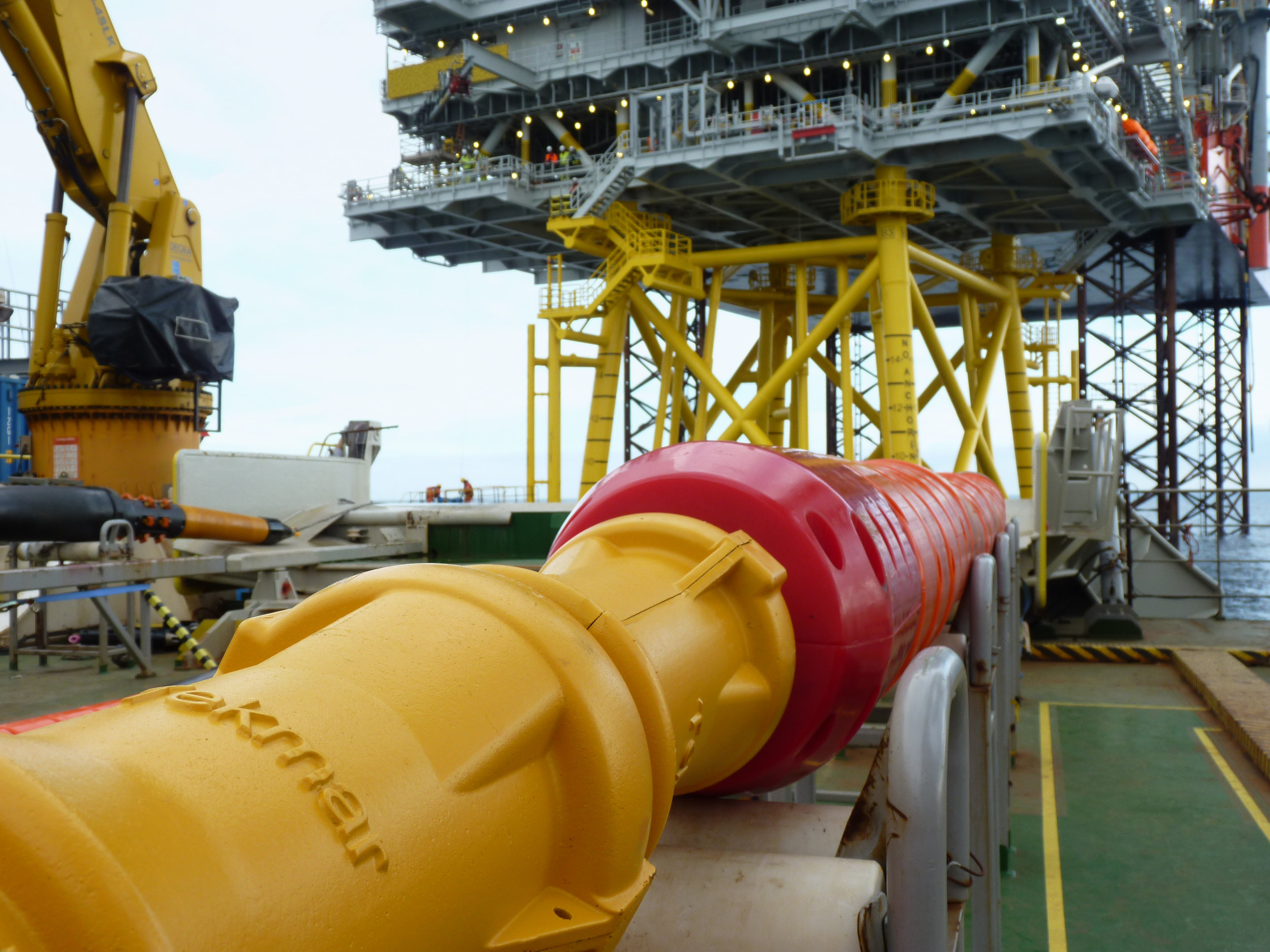 Image Caption: Tekmar Cable Protection System being installed offshore.  High resolution image can be downloaded here.
