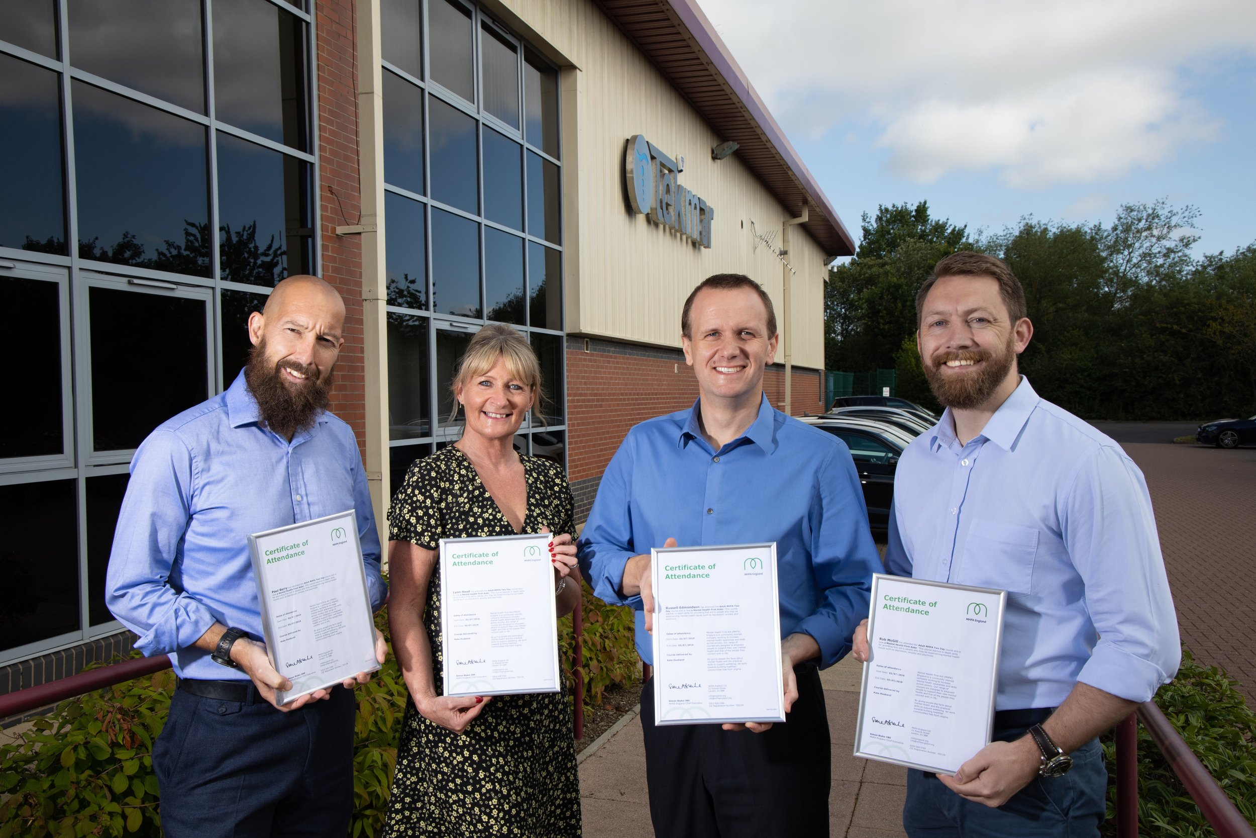 Photo caption: Tekmar launch new health and wellbeing initiative, including its first four mental health first aiders Paul Berry, Lynn Hood, Russell Edmondson and Rob McGill (pictured left to right).