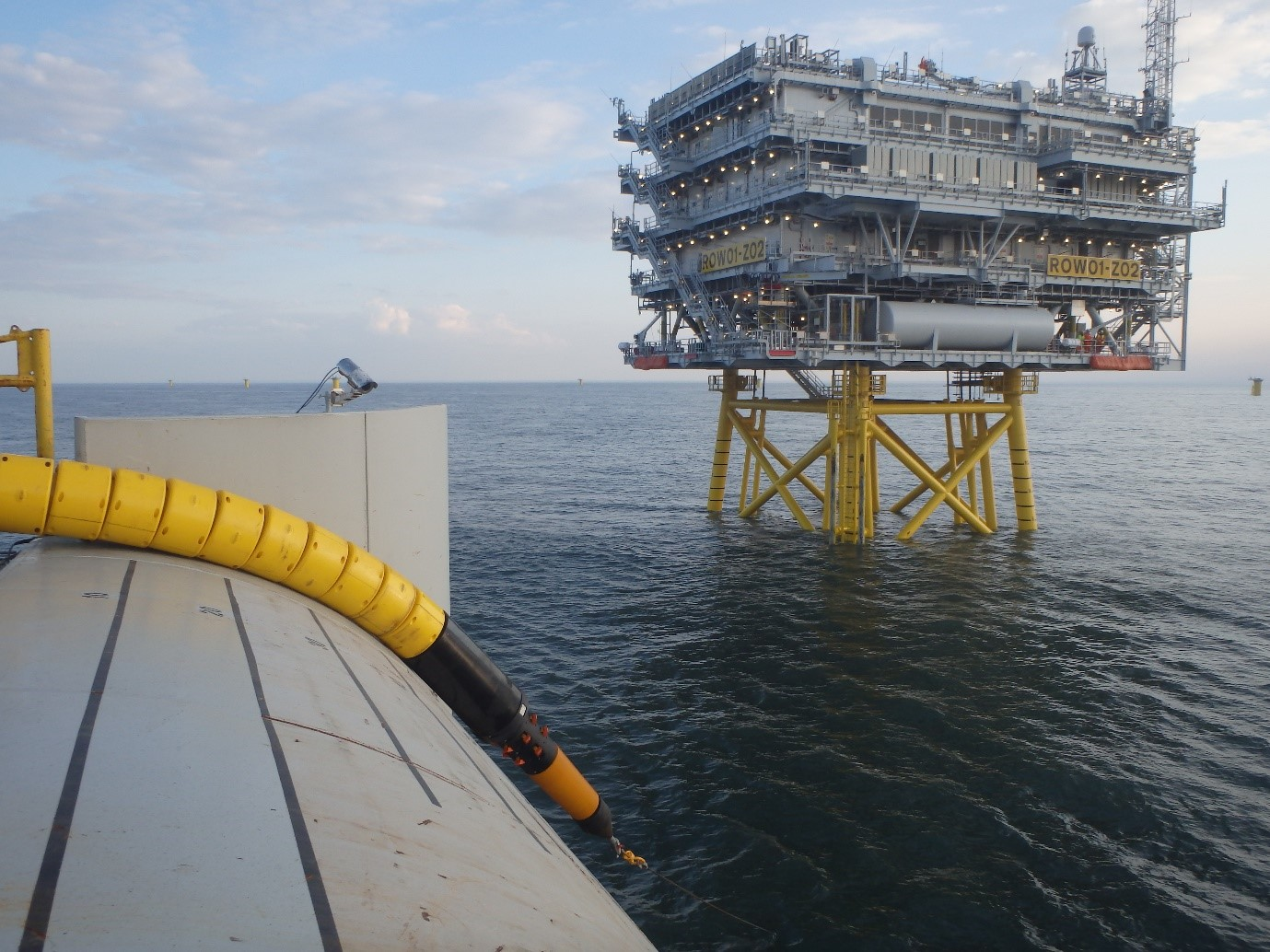 Image Caption: Tekmar Cable Protection System being installed on Ørsted's Race Bank offshore wind farm
