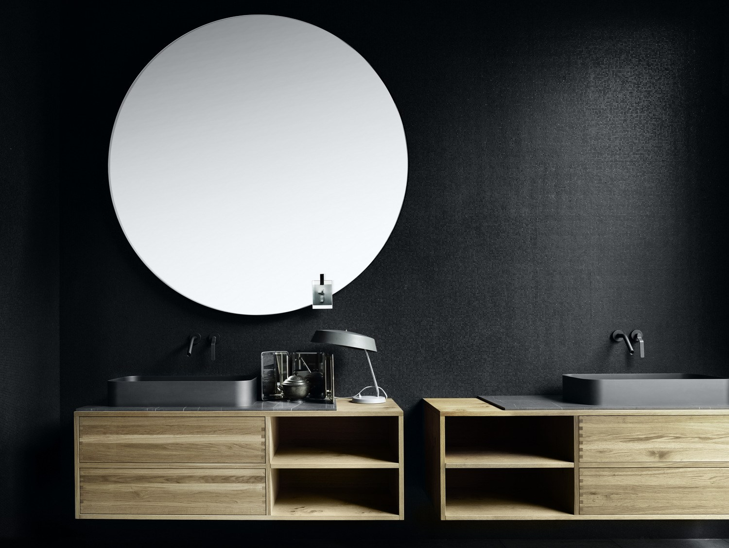 add a round mirror to soften hard lines and surfaces