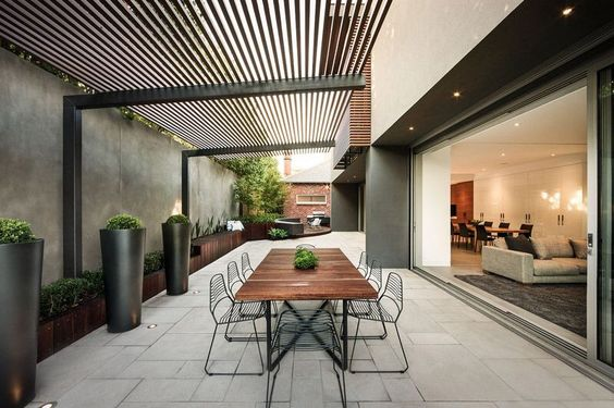 Overhead cover idea. Repeat pattern always works. Pavers or tiles look good laid in varying sizes. Head on over to Signorino for some amazing outdoor tiles.