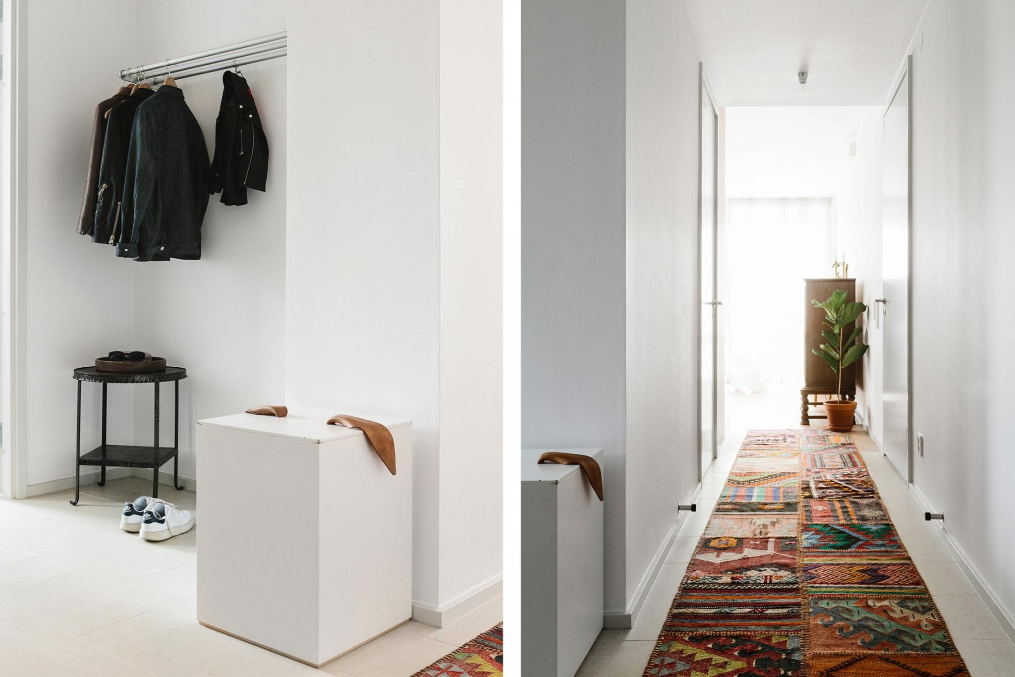 - An open hang space works well with clean lines - accessible coat racks are a winner.