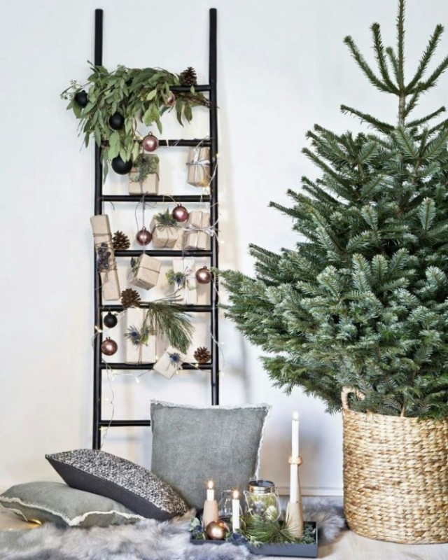 No console? No problem! Create a floor or ladder vignette instead.