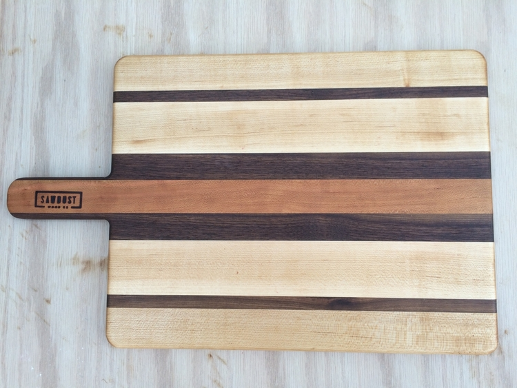 maple serving paddle with cherry and walnut stripes