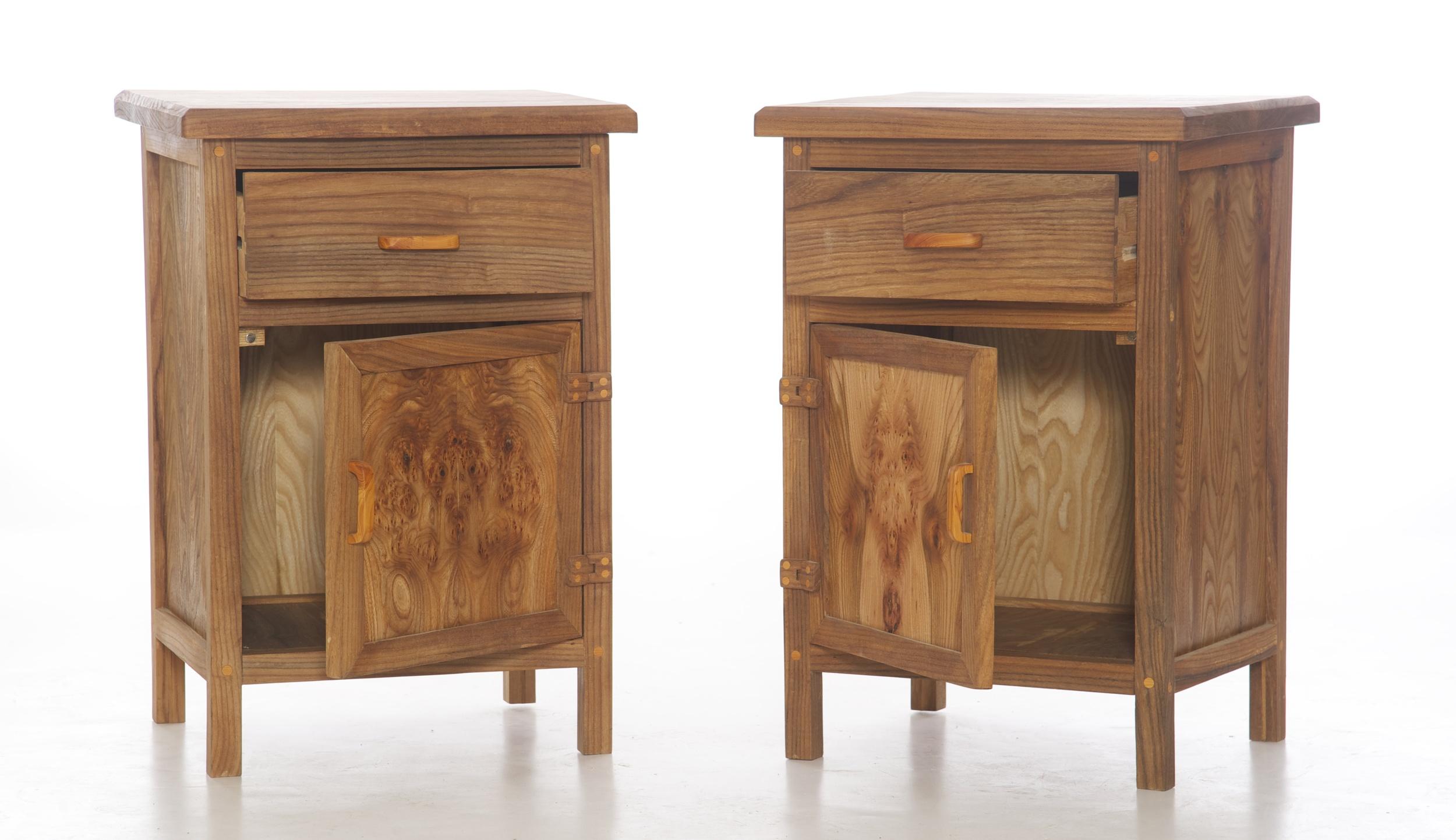 Elm bedside cabinets
