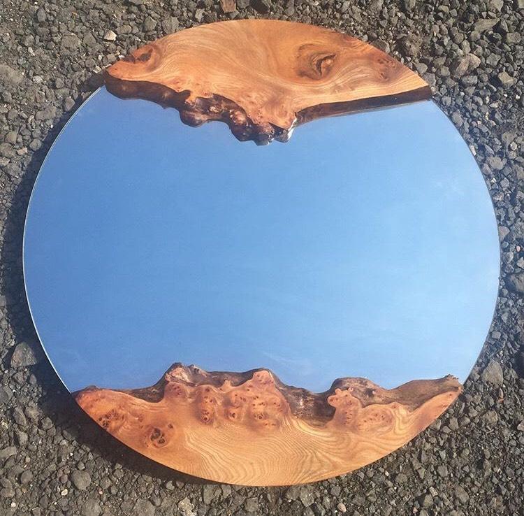 Round elm mirror