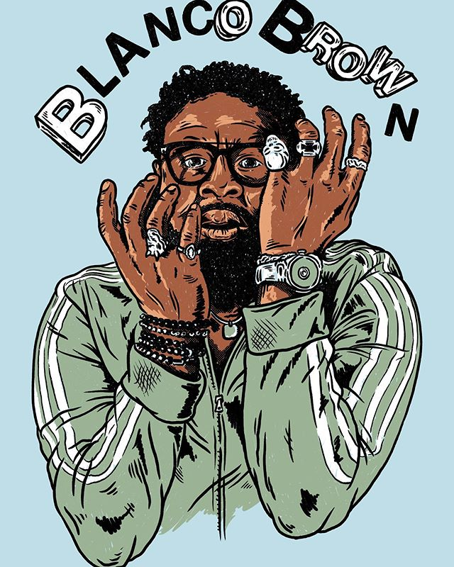 Here is a doodle I did for some @blancobrown shirts via my full time gig @a3merch Always nice when doing an illustration of some one to start of with an interesting photo. Hope you sell out of these quick. #illustration #merchdesign #merch #blancobrown #doodles #graphicdesign #illustratorforhire #commissionsopen #procreate #merchandise