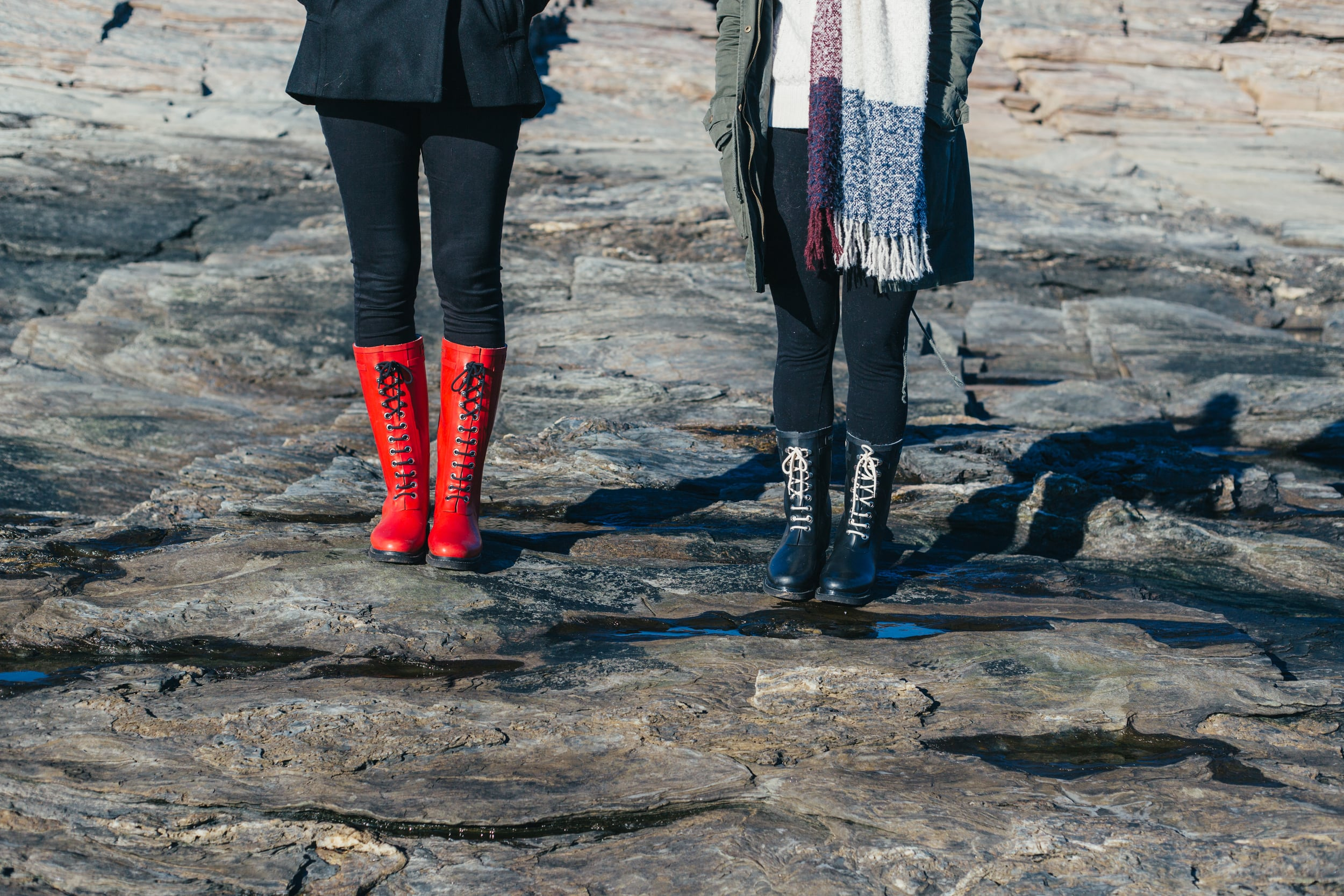 Gretchen (left) is wearng the Rub 01 boots, the tallest style they carry. I am wearing the medium-height Rub 15 black boots.
