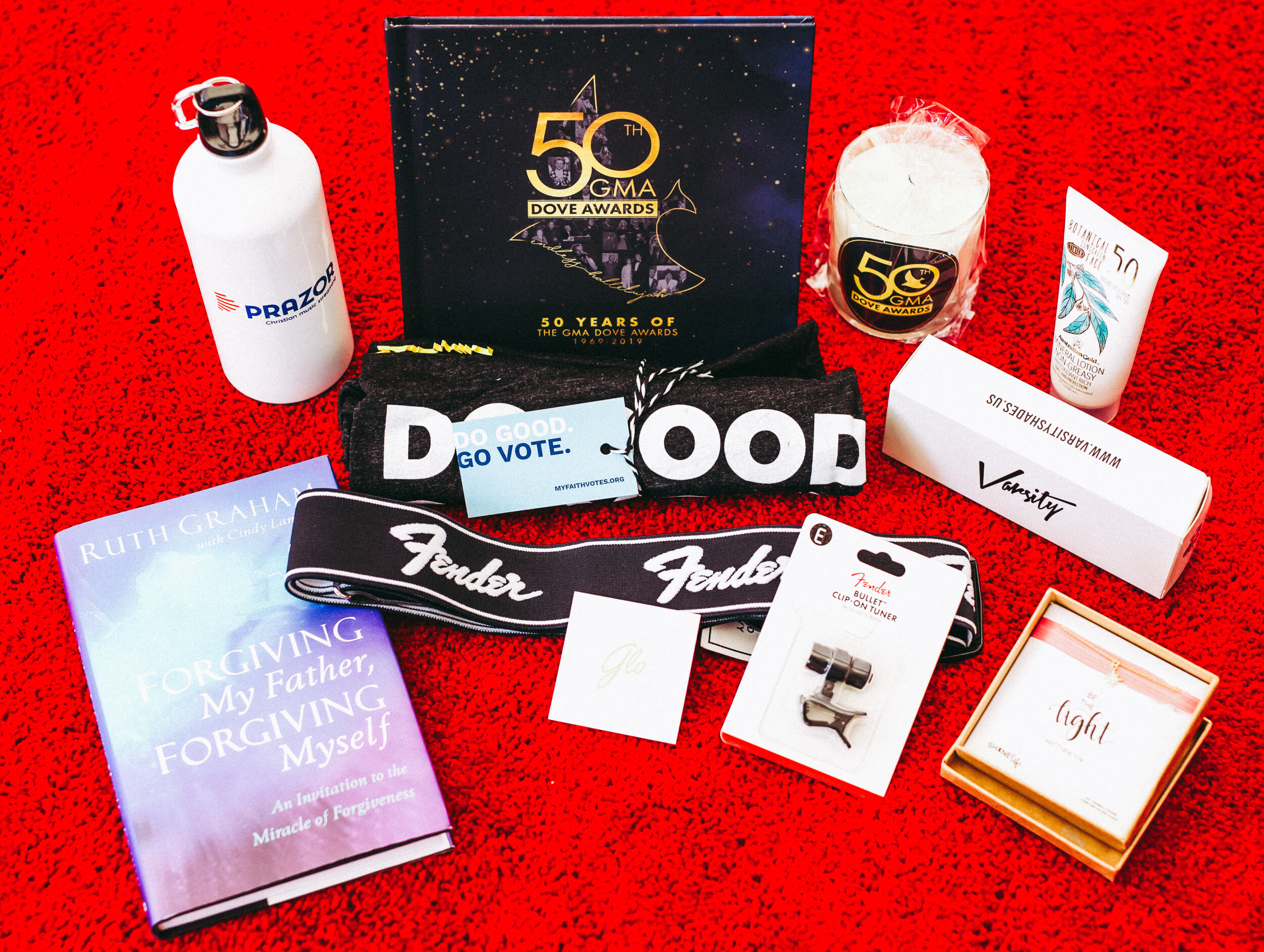 This is what was inside the Gift Boxes for all of the performers of the Dove Awards!