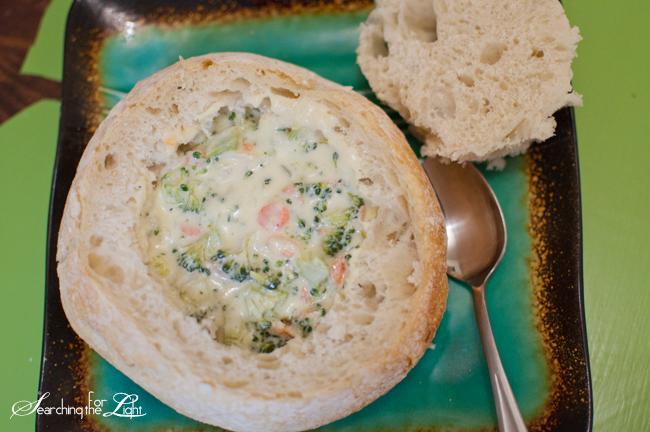 Panera Bread's Broccoli Cheese Soup with bread bowl Recipe photo