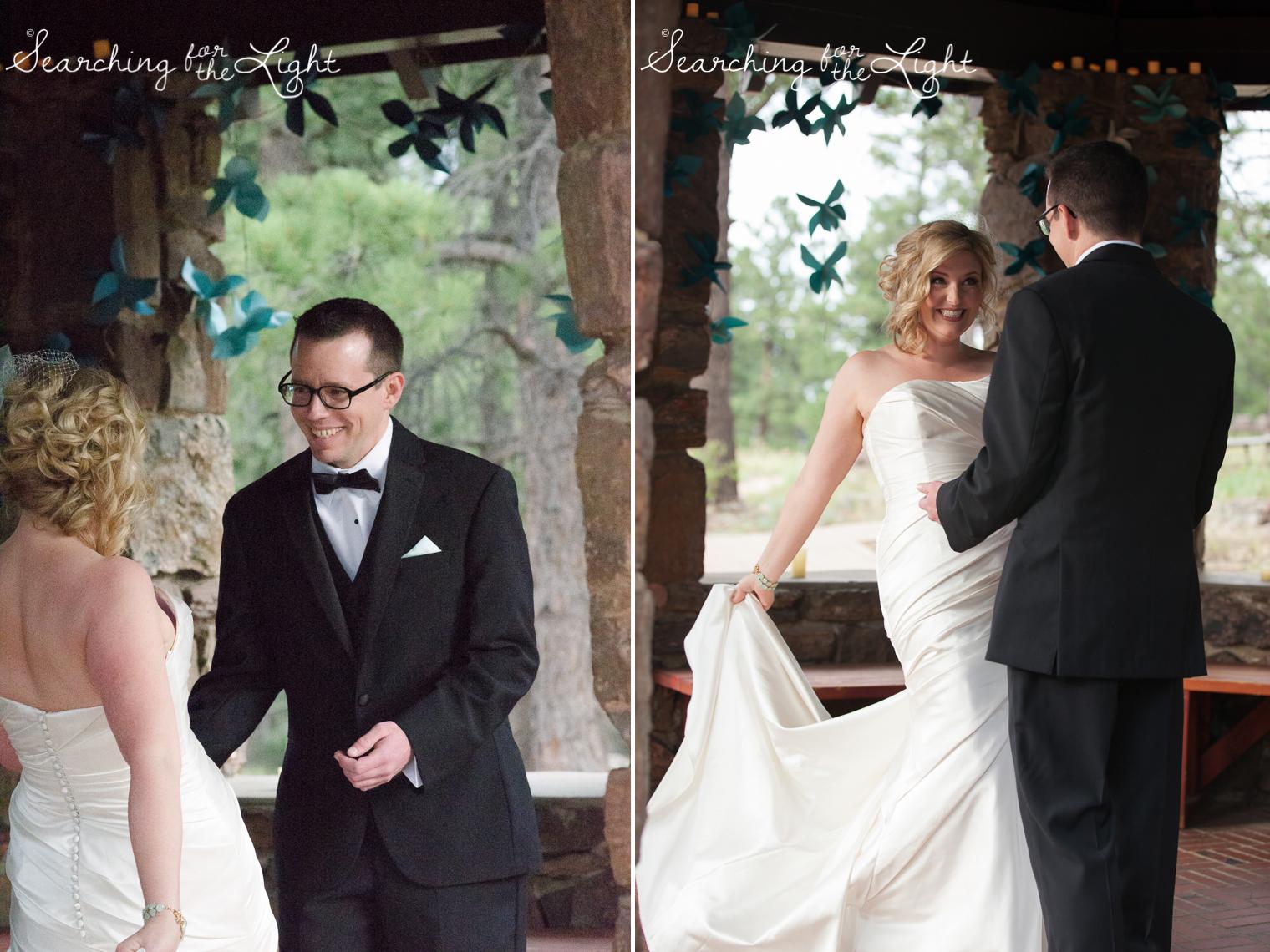 First Look Boettcher Mansion wedding photos from a Denver wedding photographer