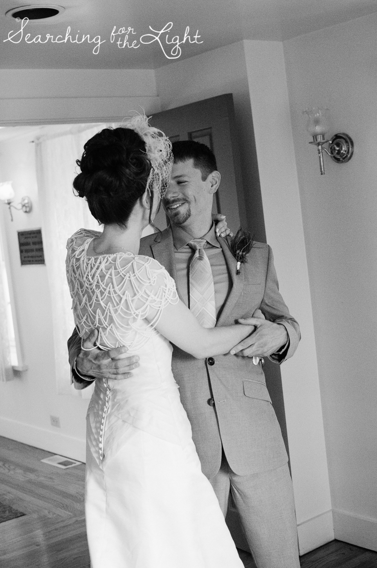 first look Lakewood stone house wedding photos by Denver wedding photographer searchingforthelight.com