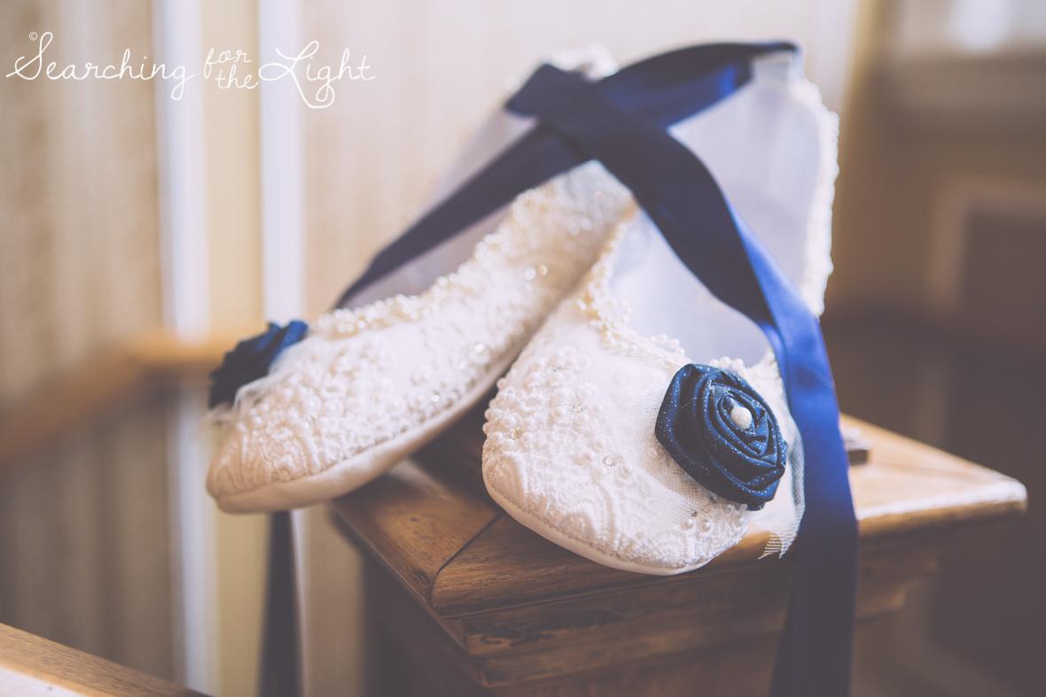 handmade wedding shoes, Parkside mansion wedding photo by denver wedding photographer, romantic evening wedding photo, city wedding