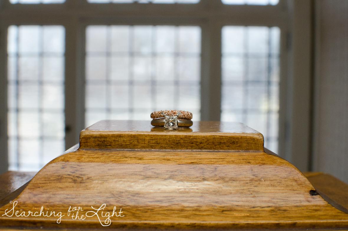 wedding ring photo at Parkside mansion wedding photo by denver wedding photographer, romantic evening wedding photo, city wedding