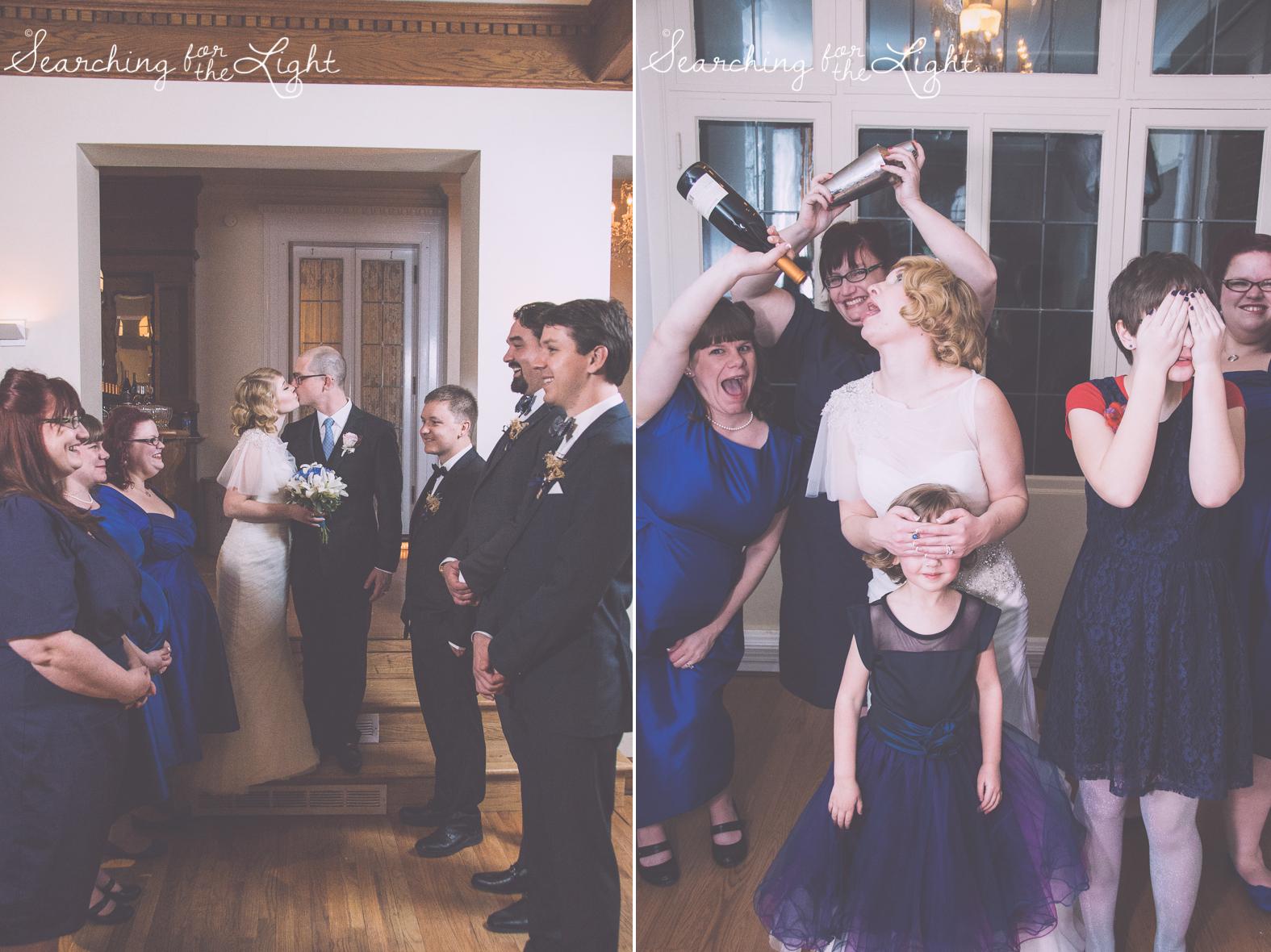 fun wedding party photos indoors Parkside mansion wedding photo by denver wedding photographer, romantic evening wedding photo, city wedding