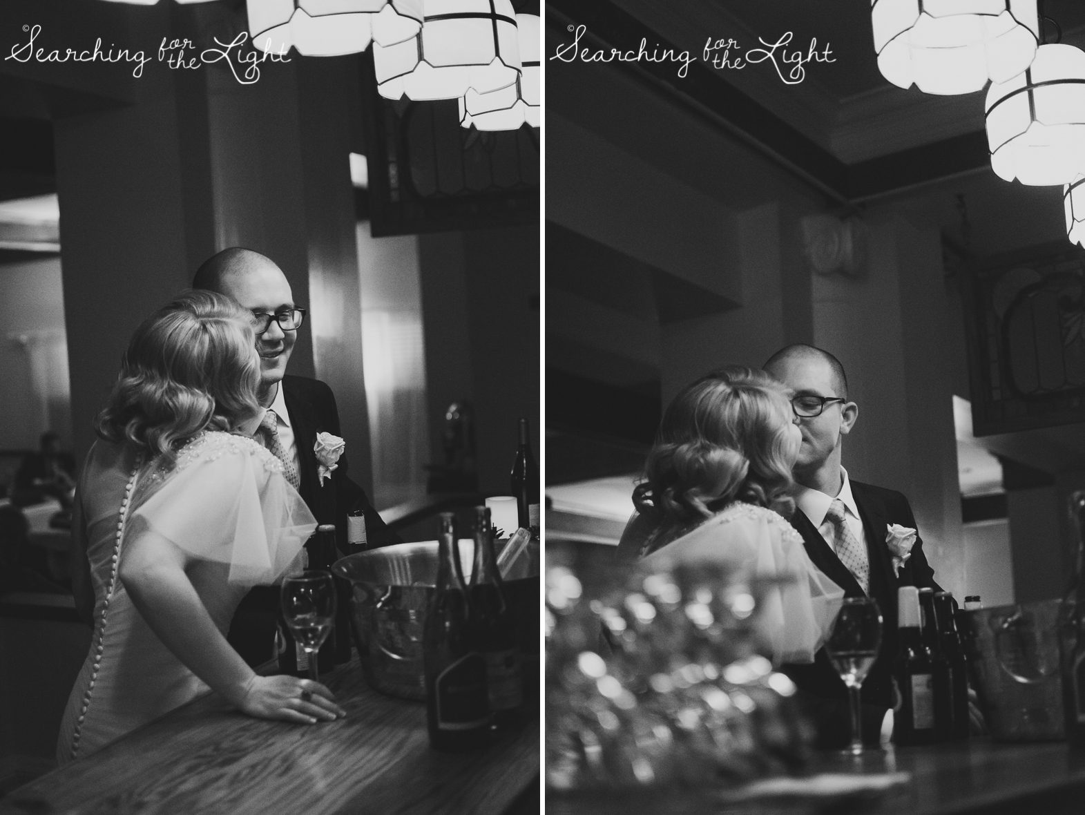 Romantic wedding photos at the bar Parkside mansion wedding photo by denver wedding photographer, romantic evening wedding photo, city wedding