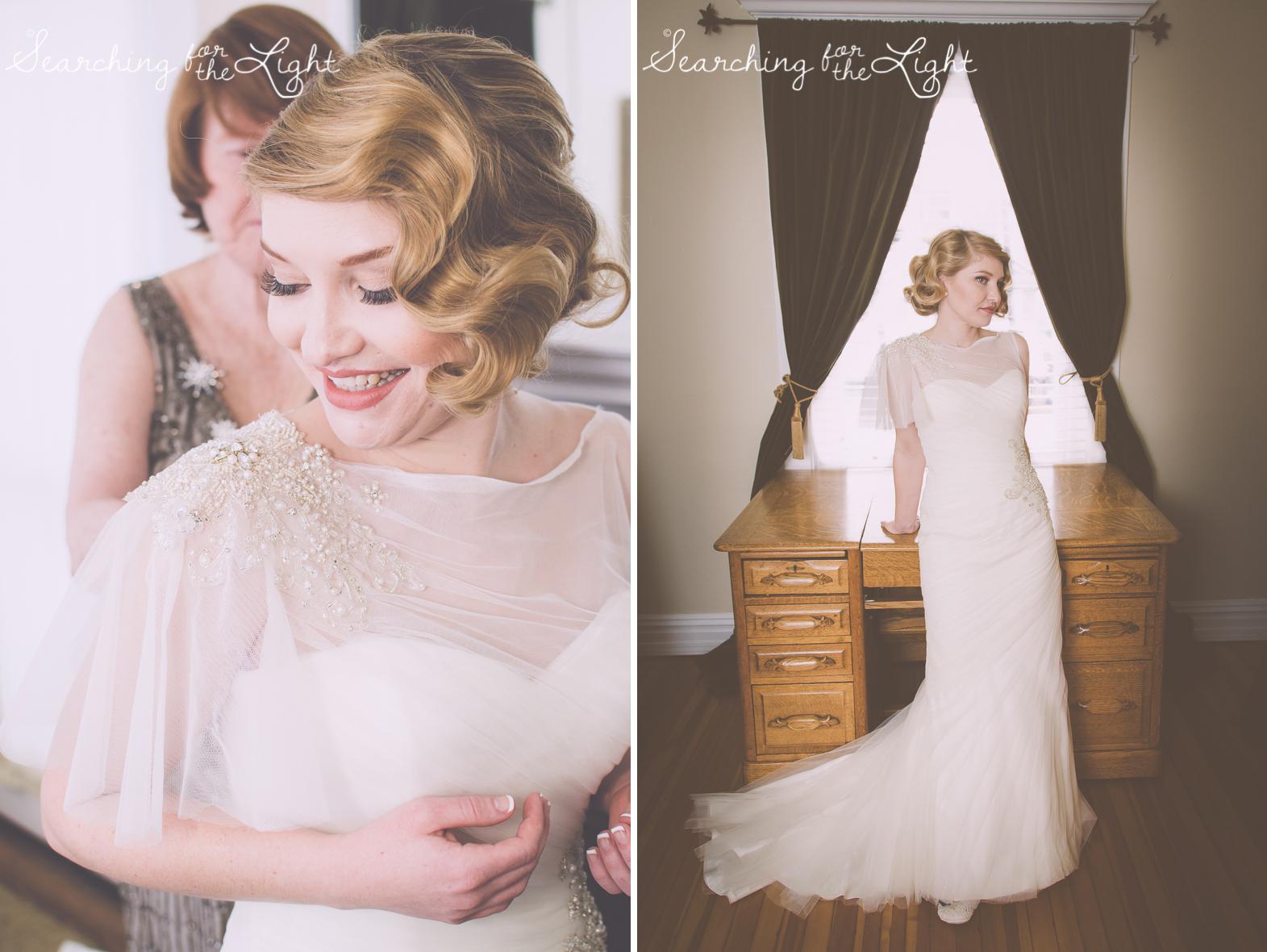 bridal portraits Parkside mansion wedding photo by denver wedding photographer, romantic evening wedding photo, city wedding